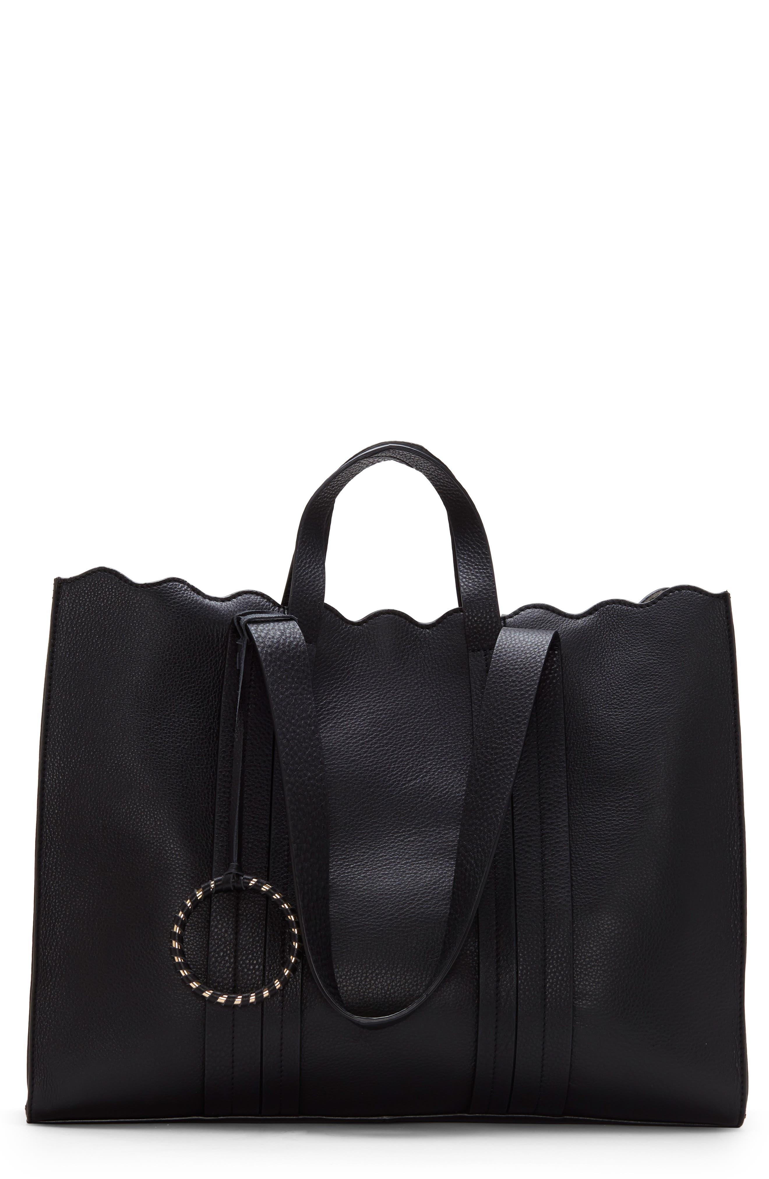 Scallop Leather Tote, Main, color, BLACK
