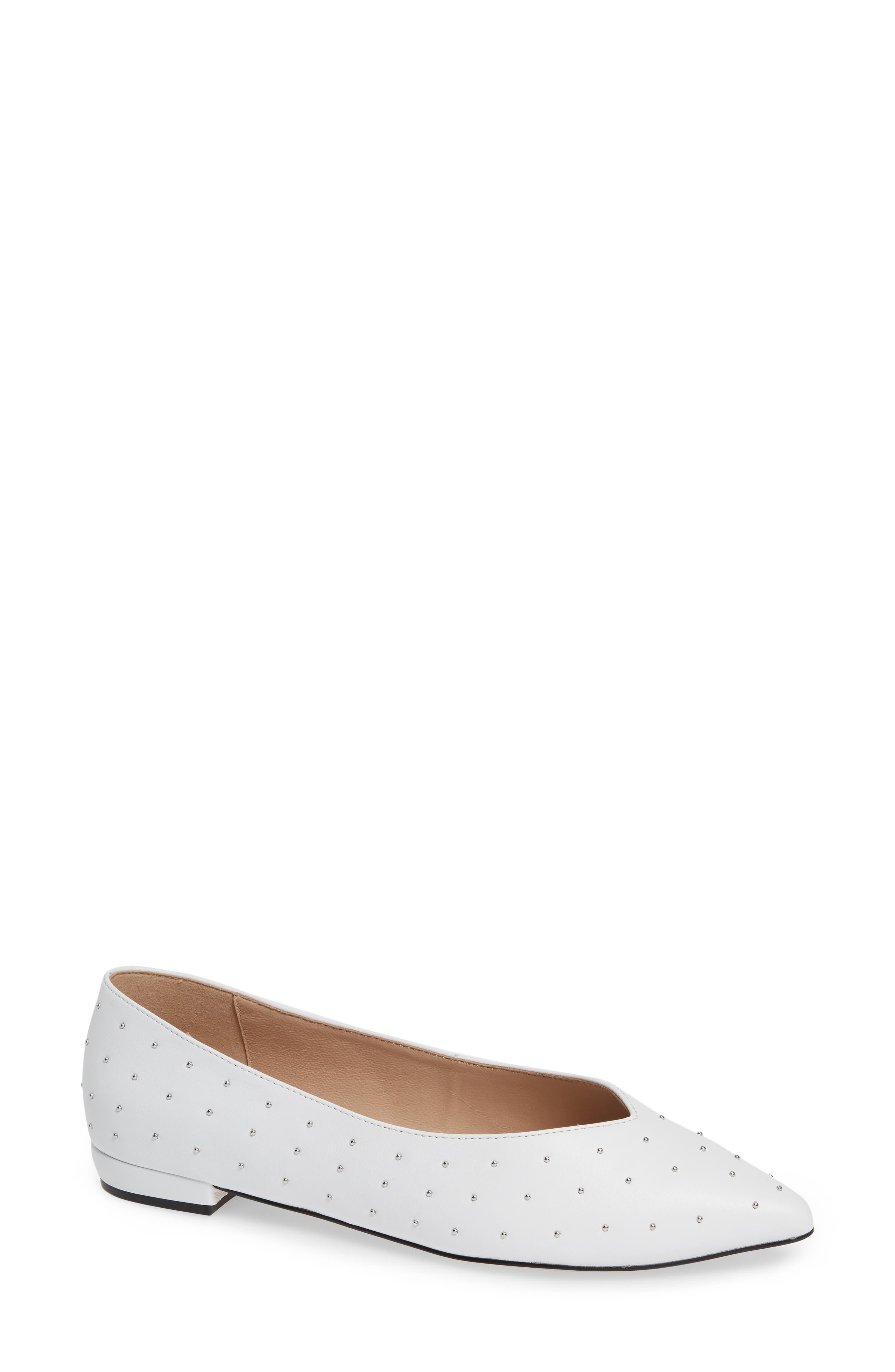 Snbea Studded Flat,                             Main thumbnail 1, color,                             WHITE LEATHER
