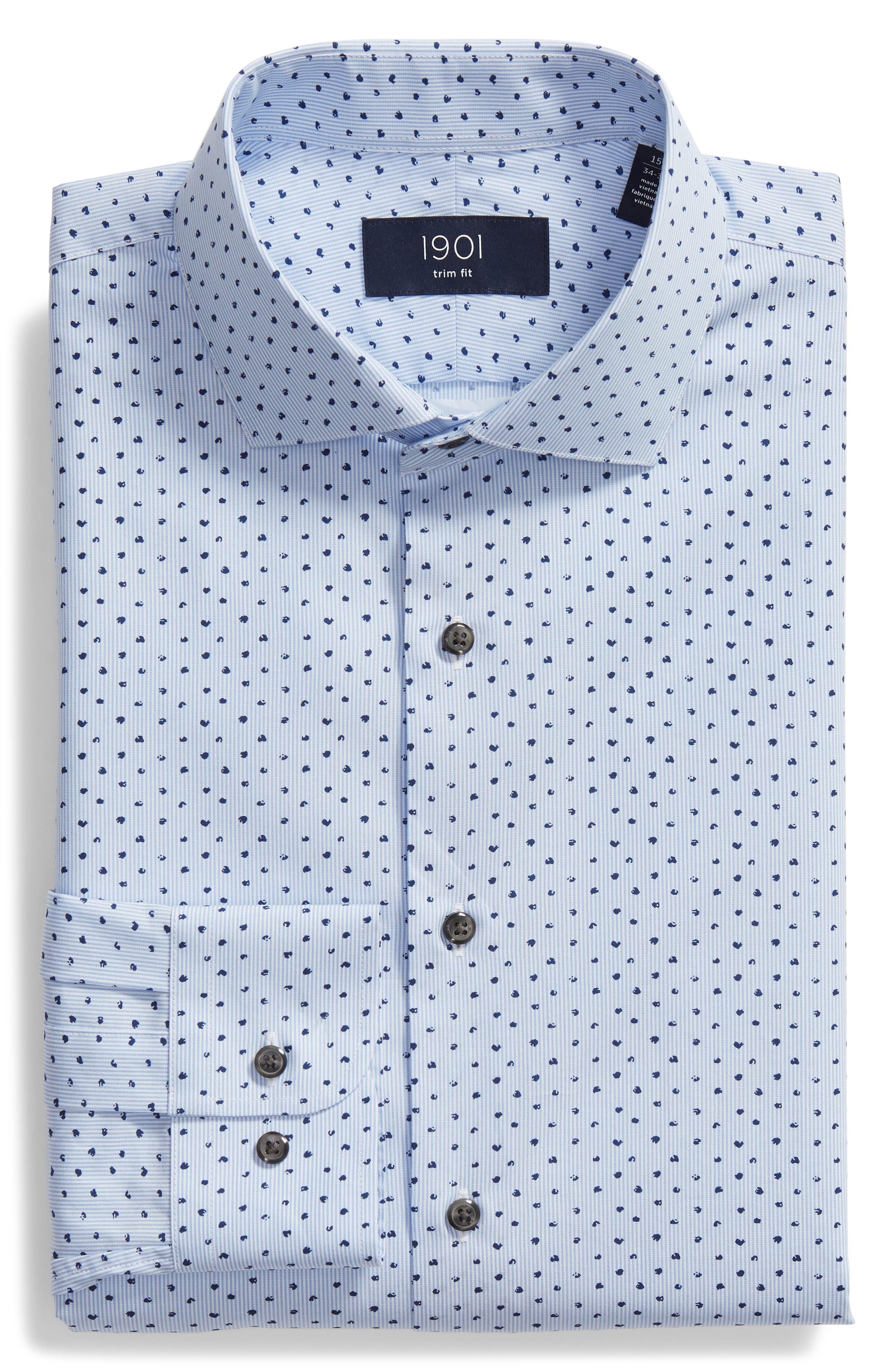 Trim Fit Stripe Dot Dress Shirt,                             Alternate thumbnail 5, color,                             BLUE CORNFLOWER