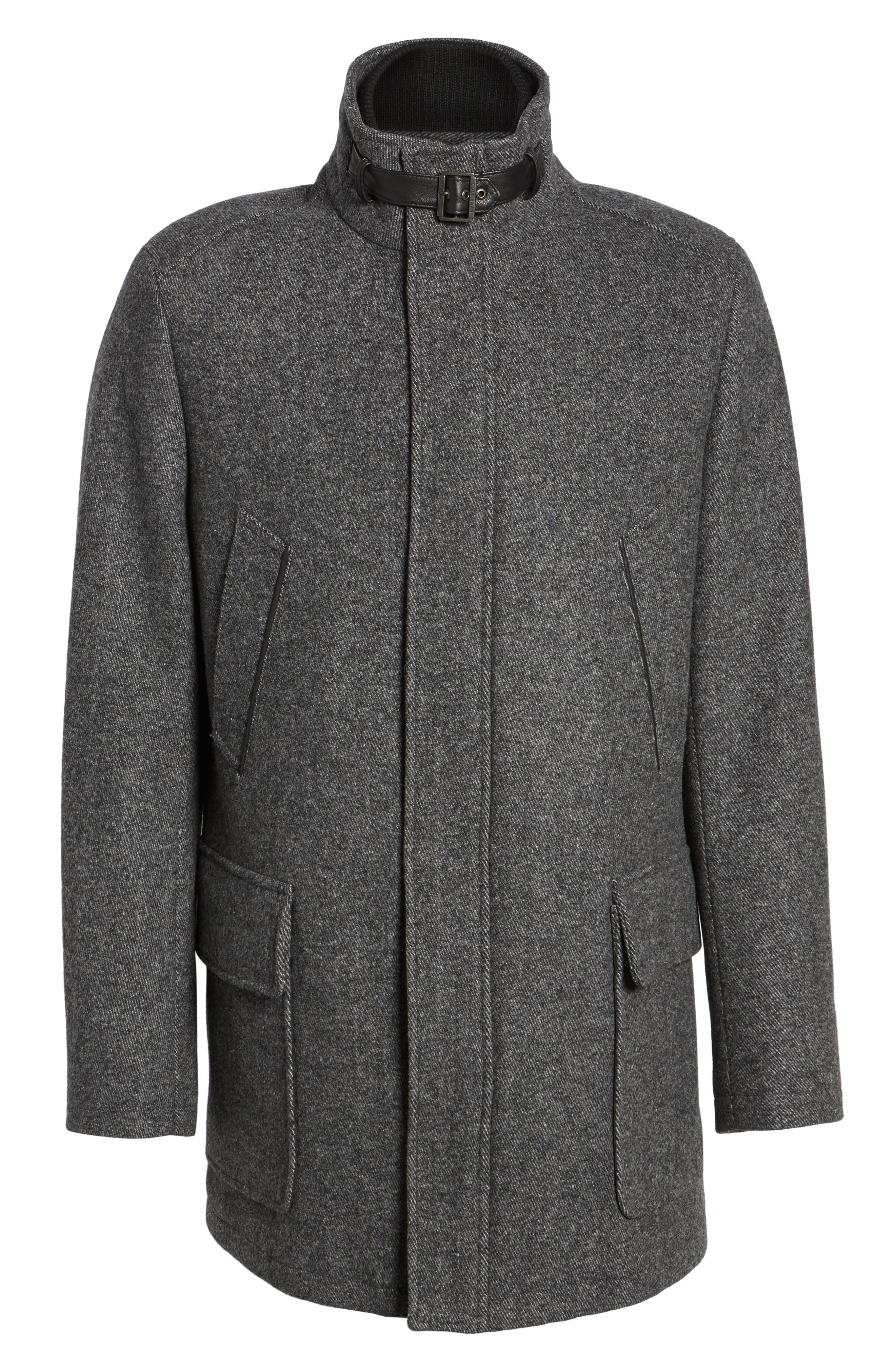 Wool Blend Car Coat with Removable Knit Bib,                             Alternate thumbnail 5, color,                             073