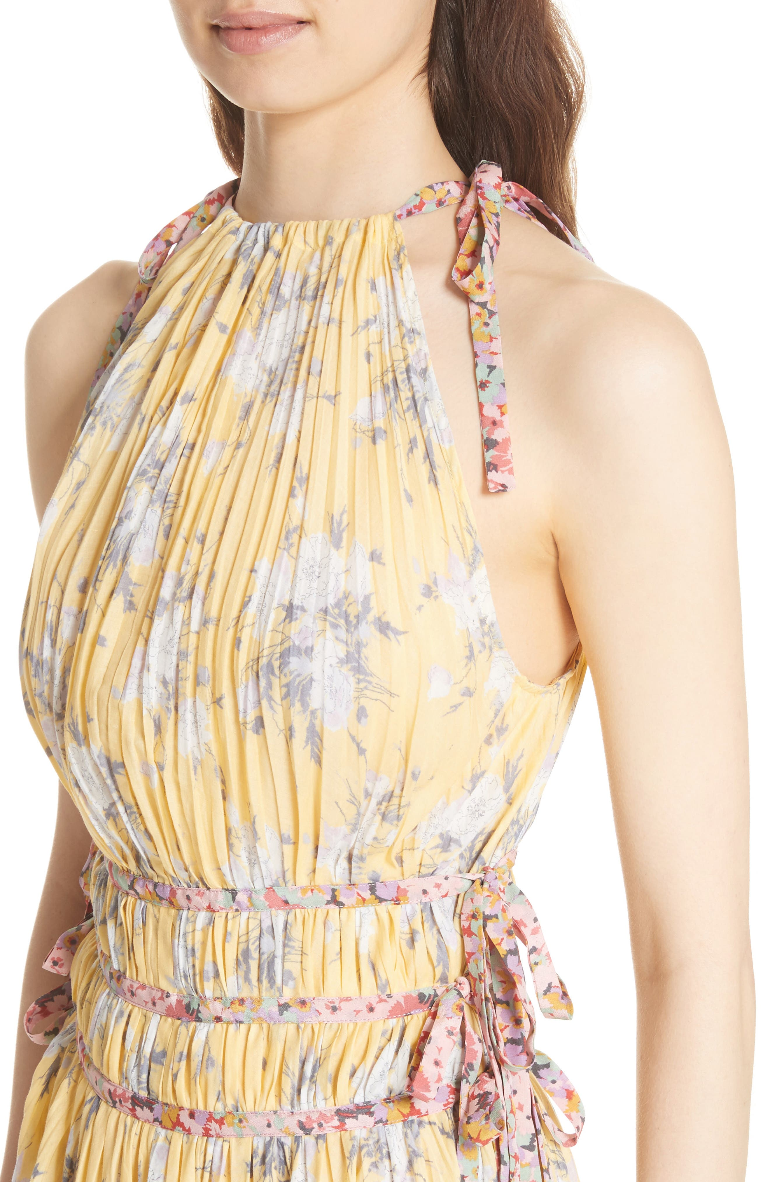 Pleat Midi Dress,                             Alternate thumbnail 4, color,