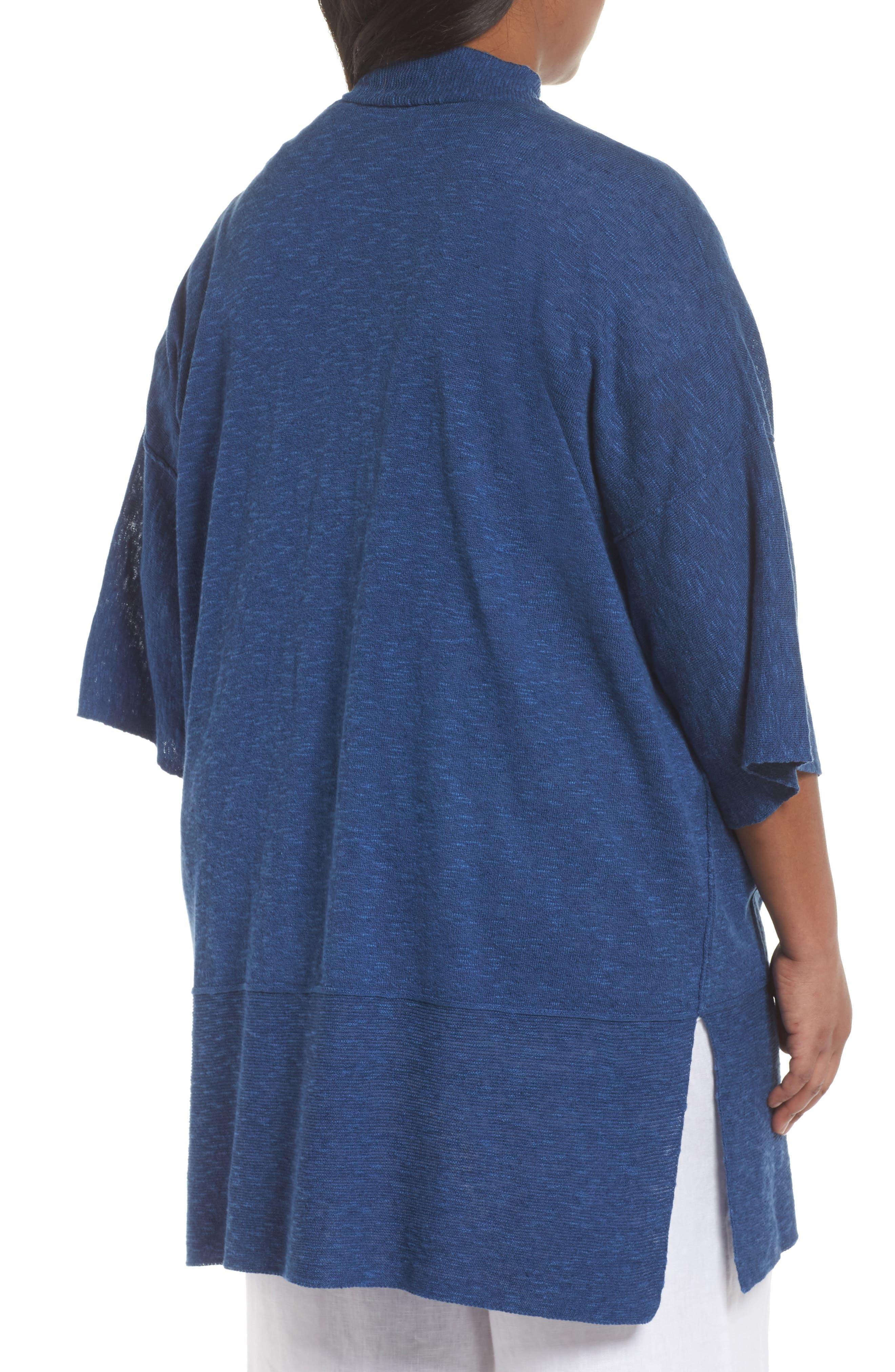 Organic Linen & Cotton Kimono Cardigan,                             Alternate thumbnail 4, color,