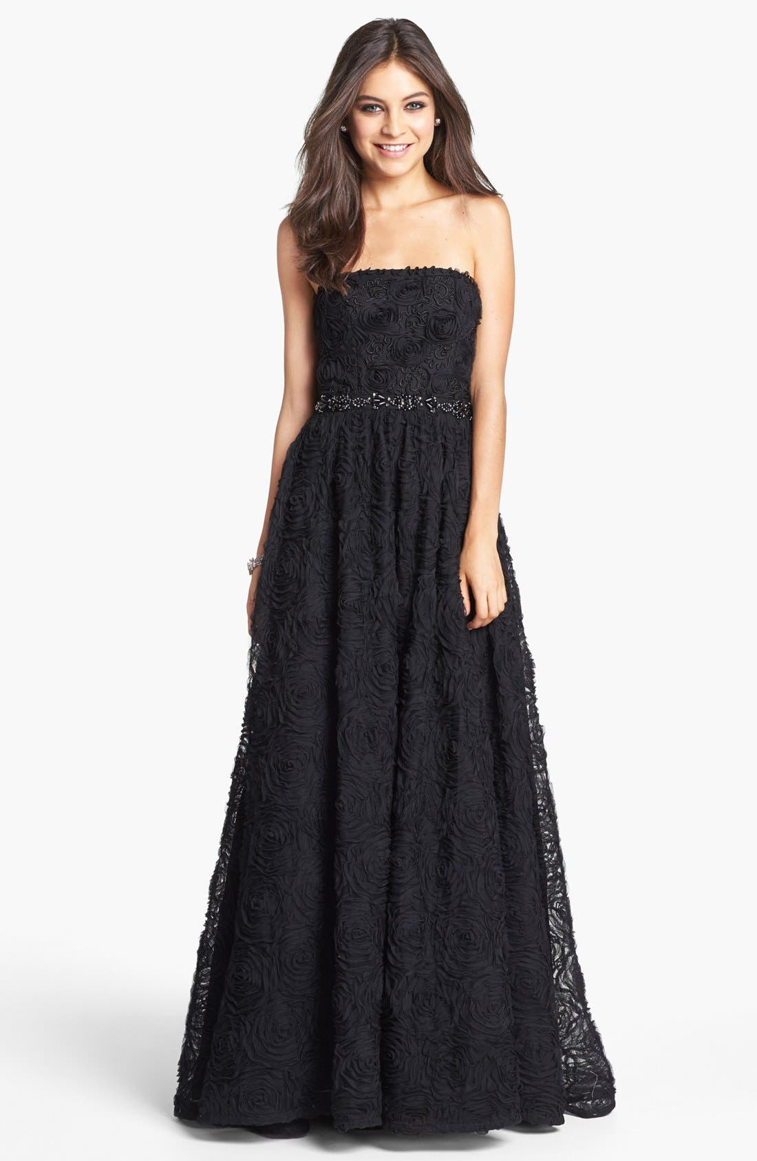 ADRIANNA PAPELL Strapless Soutache Gown, Main, color, 001