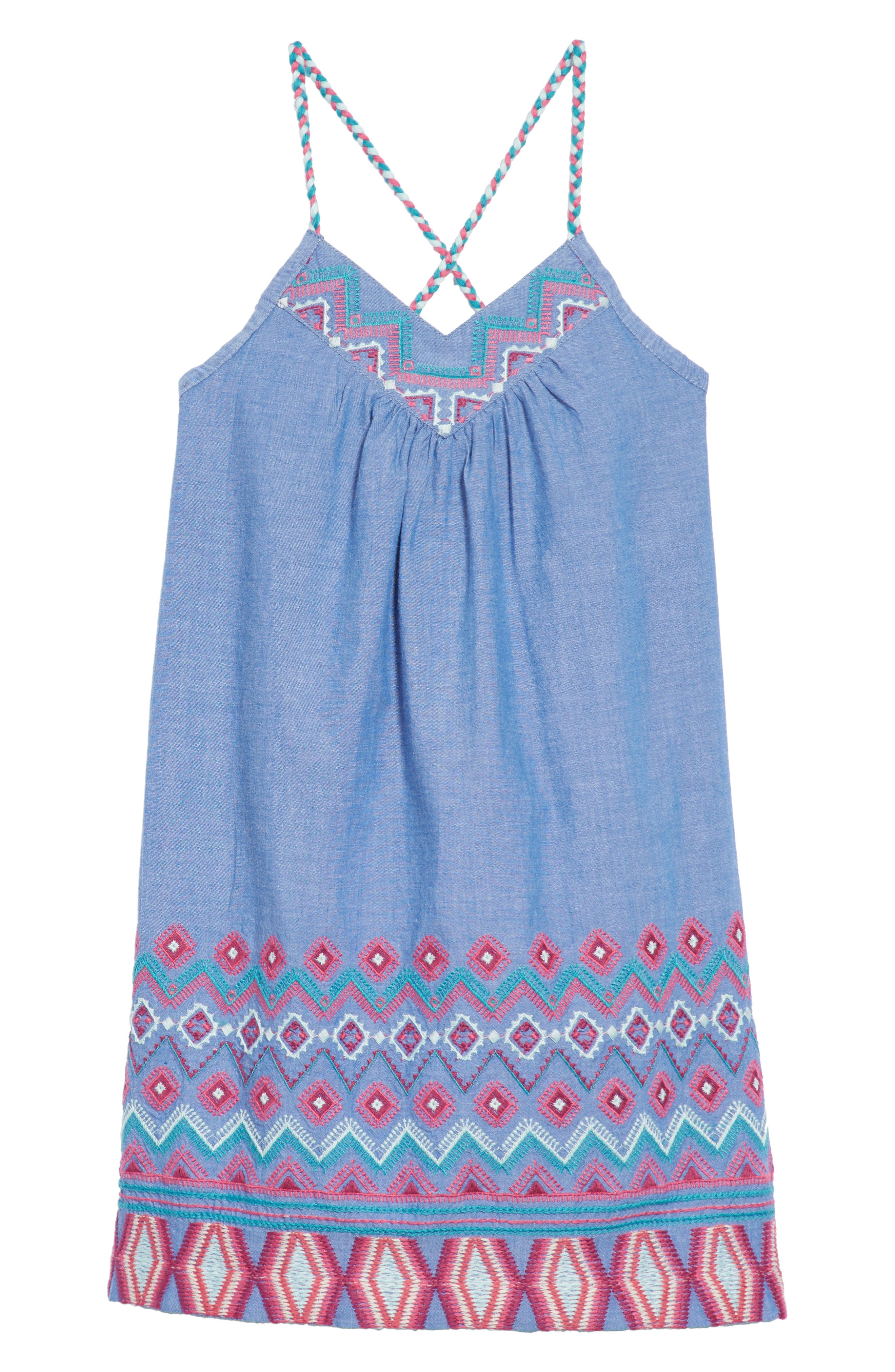 Melia Embroidered Chambray Sundress,                             Main thumbnail 1, color,                             450