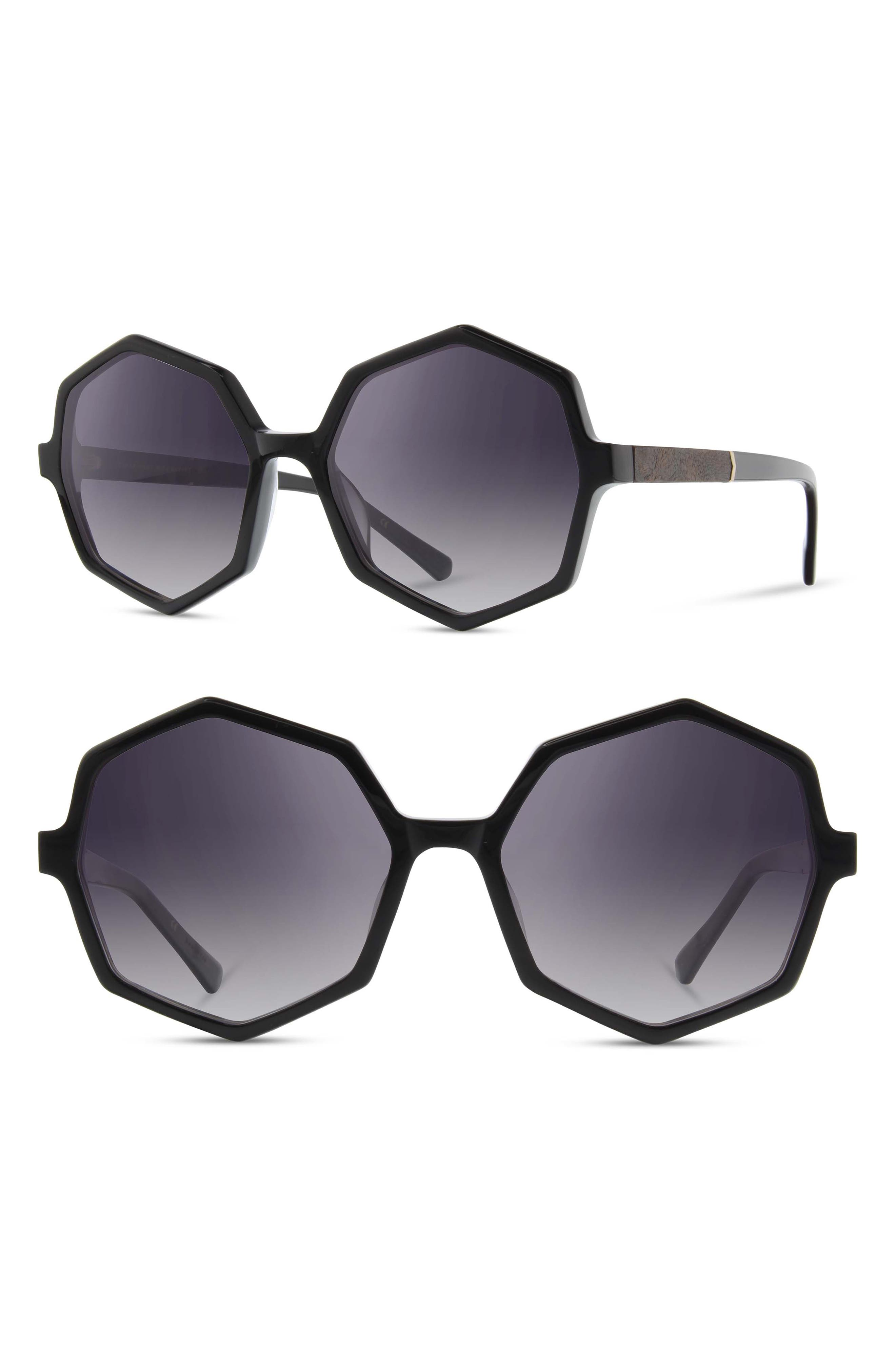 Shwood Aurora 57Mm Sunglasses - Black/ Elm Burl/ Grey Fade