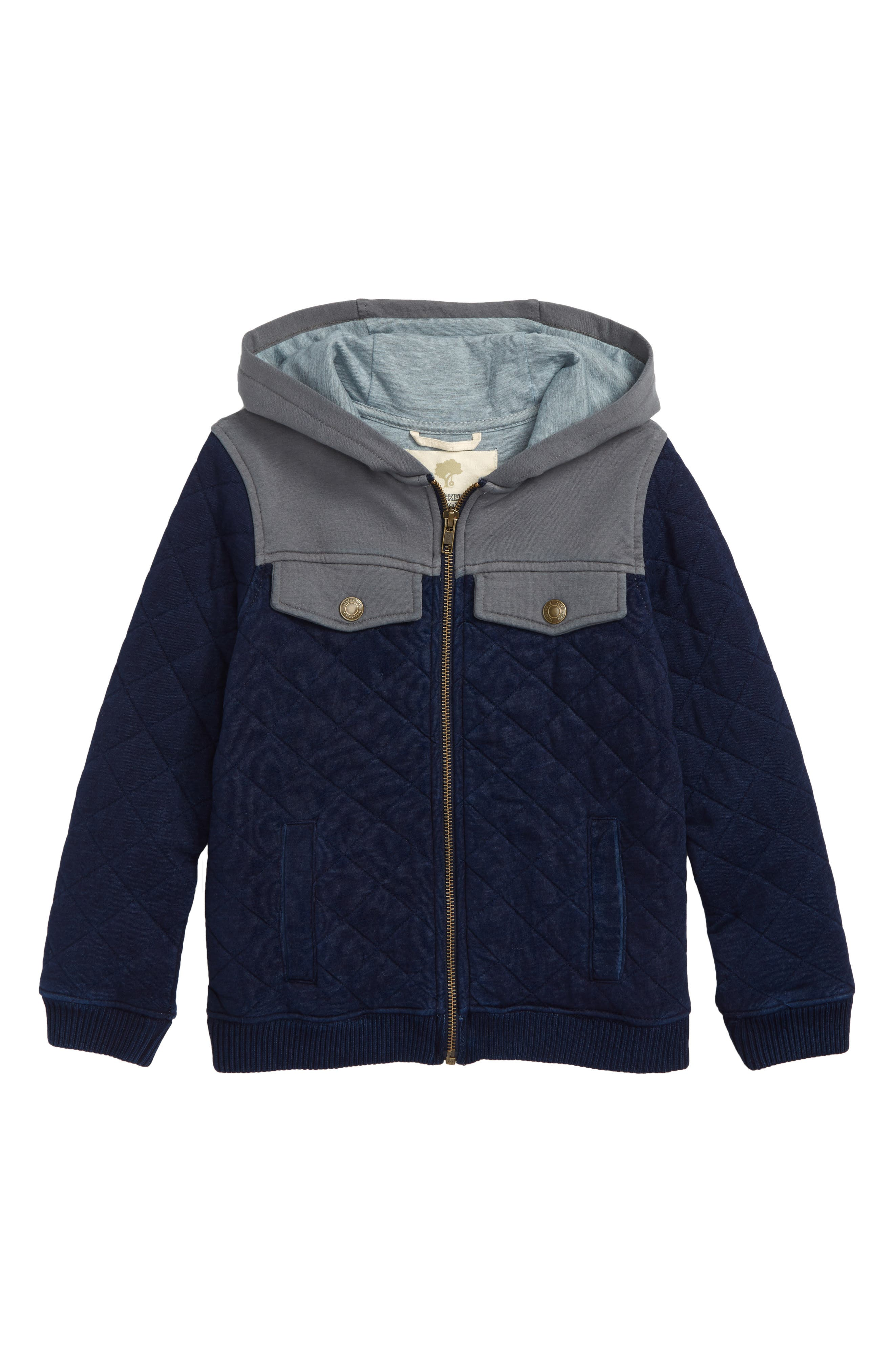 Quilted Zip Hoodie,                             Main thumbnail 1, color,                             INDIGO