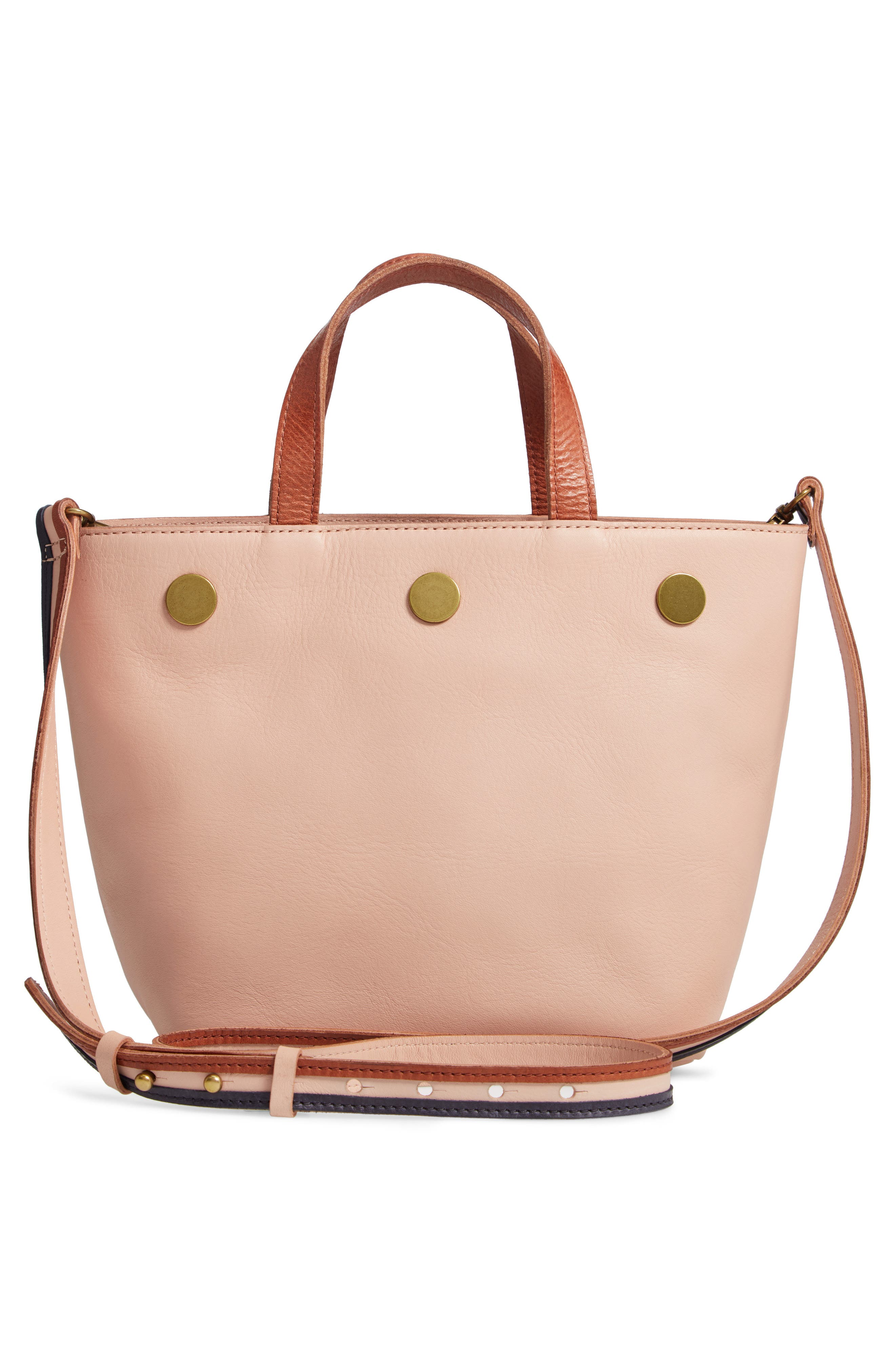 Leather Top Handle Bag,                             Alternate thumbnail 3, color,                             SHEER PINK