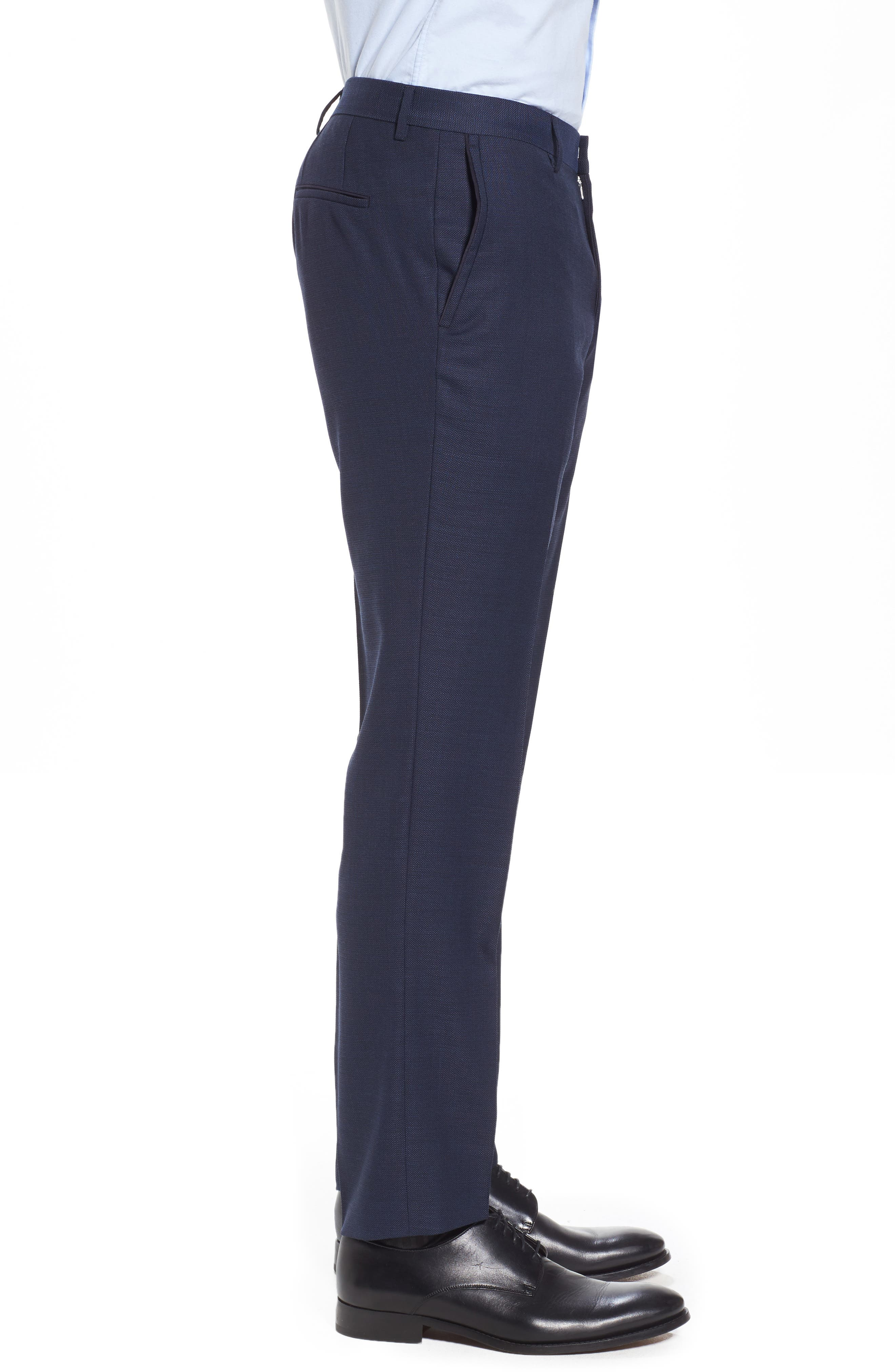 Blake Flat Front Solid Wool Trousers,                             Alternate thumbnail 4, color,                             401