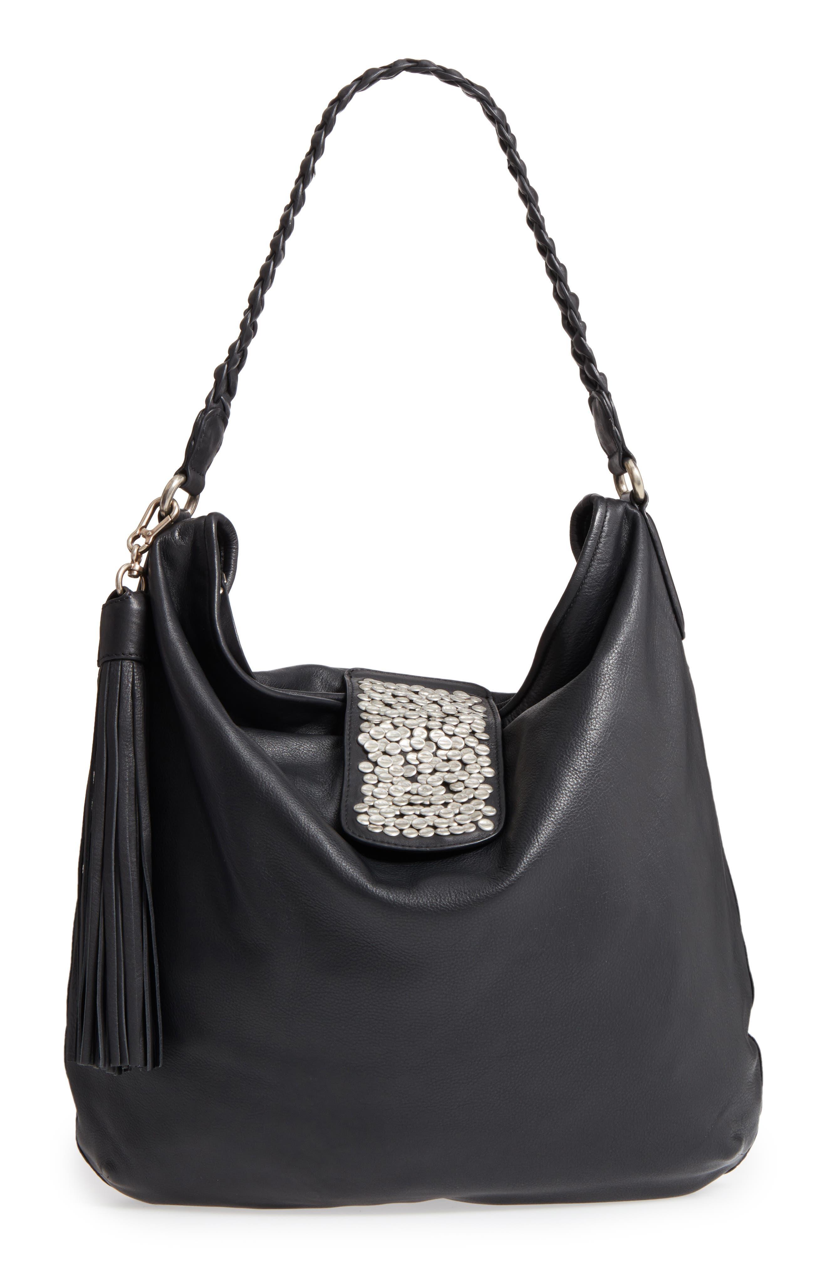 Céline Dion Cadence Leather Hobo Bag, Main, color, 001