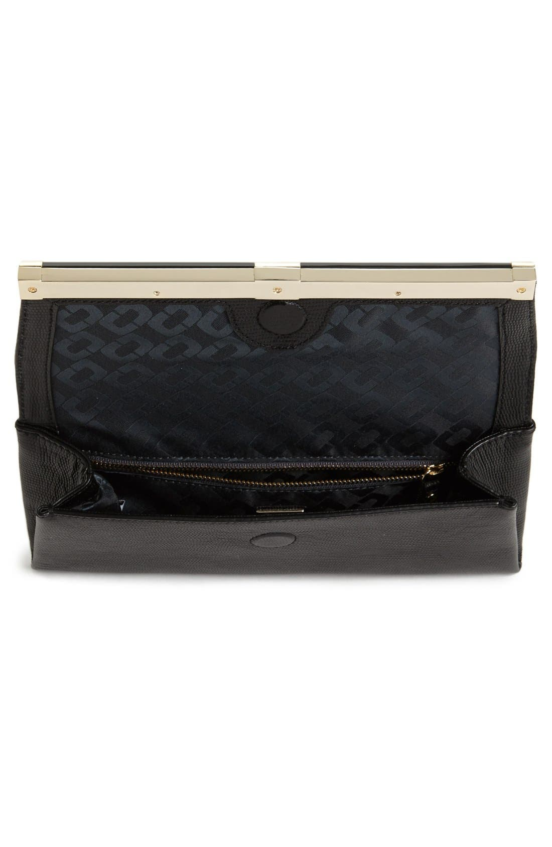'440' Leather Envelope Clutch,                             Alternate thumbnail 3, color,                             002