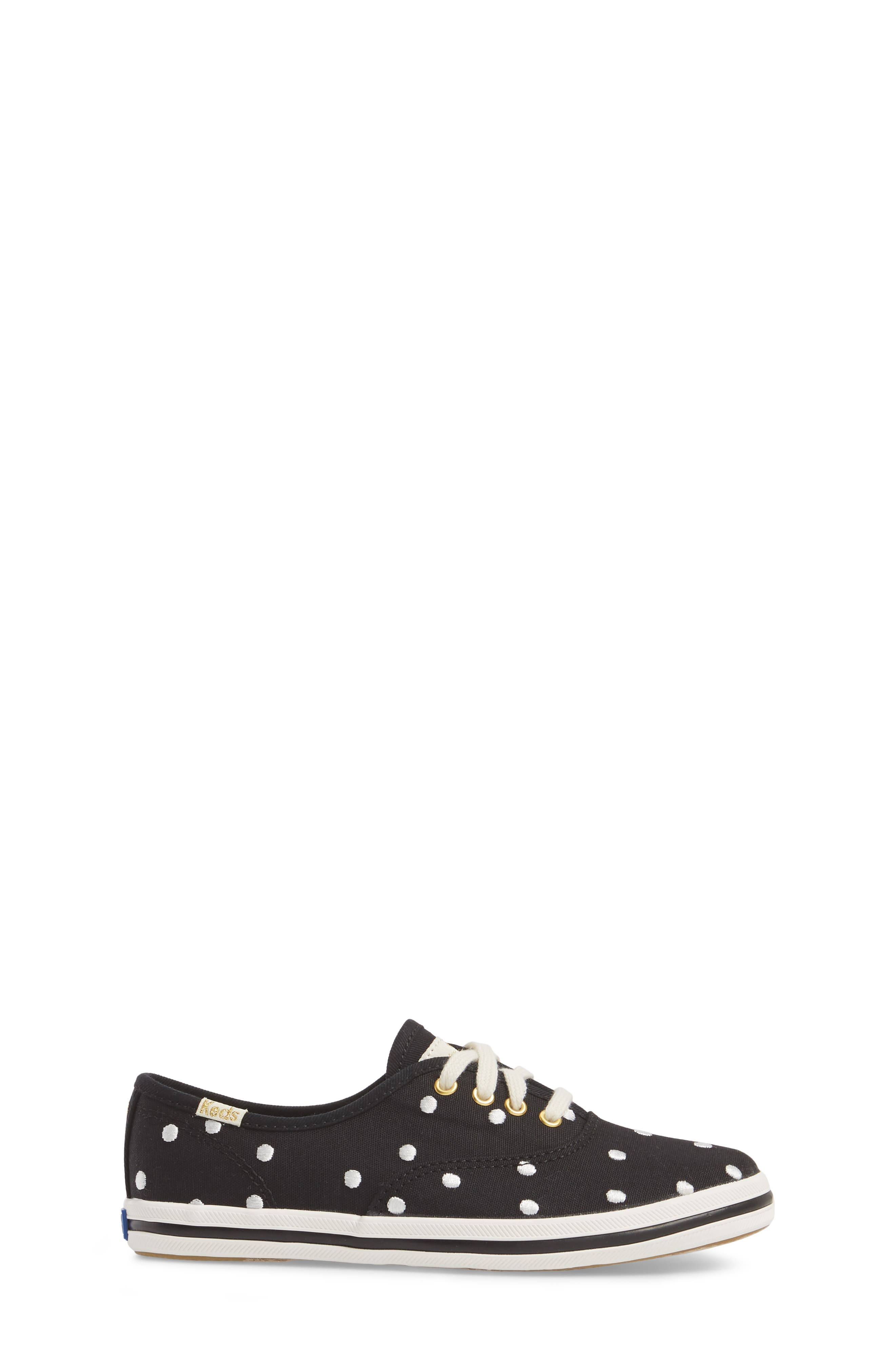 x kate spade new york champion polka dot lace-up shoe,                             Alternate thumbnail 3, color,                             BLACK DANCING DOT