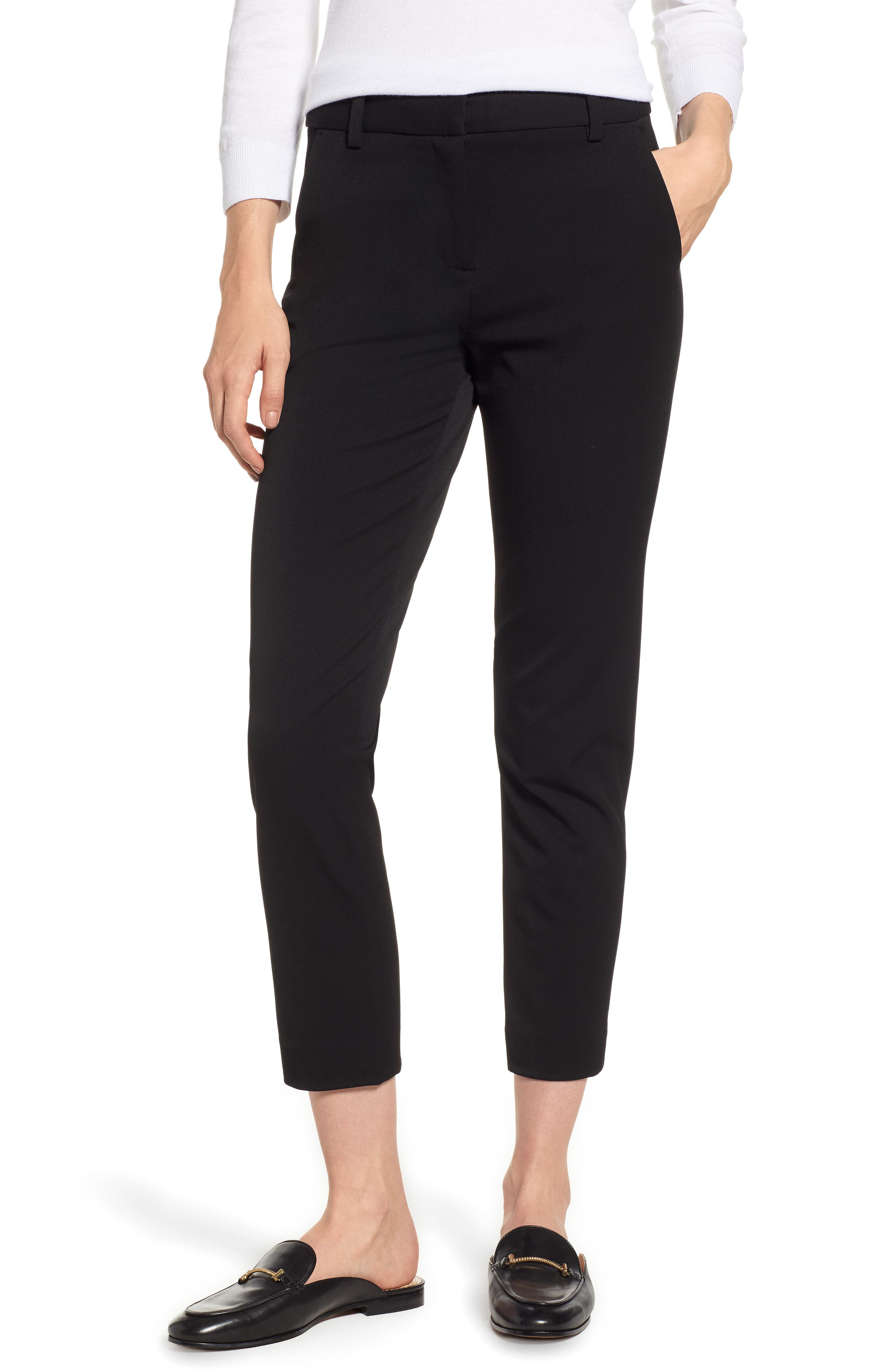 2-Way Stretch Twill Straight Pants,                         Main,                         color, RICH BLACK