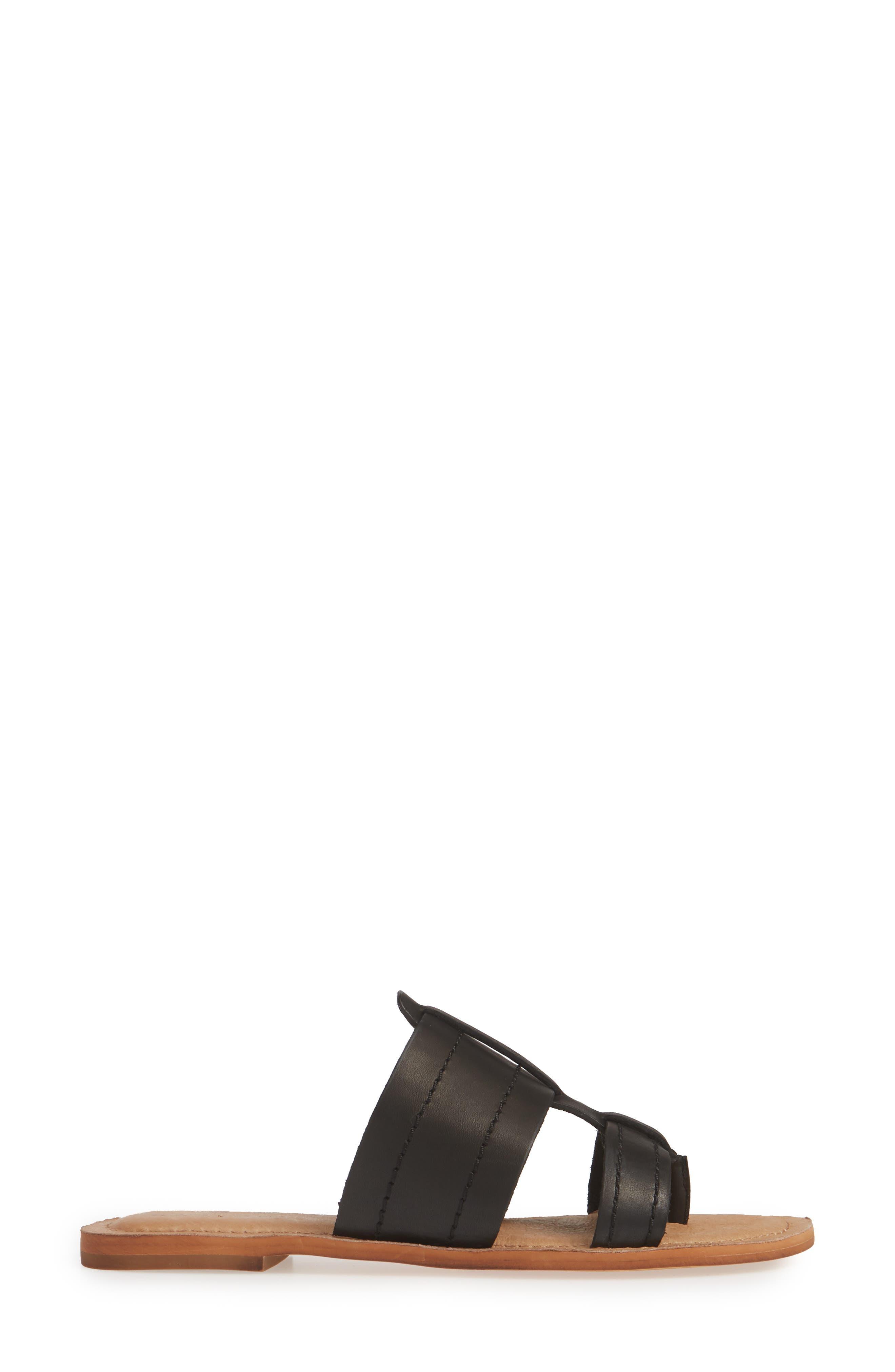 Mateo Slide Sandal,                             Alternate thumbnail 3, color,                             BLACK LEATHER