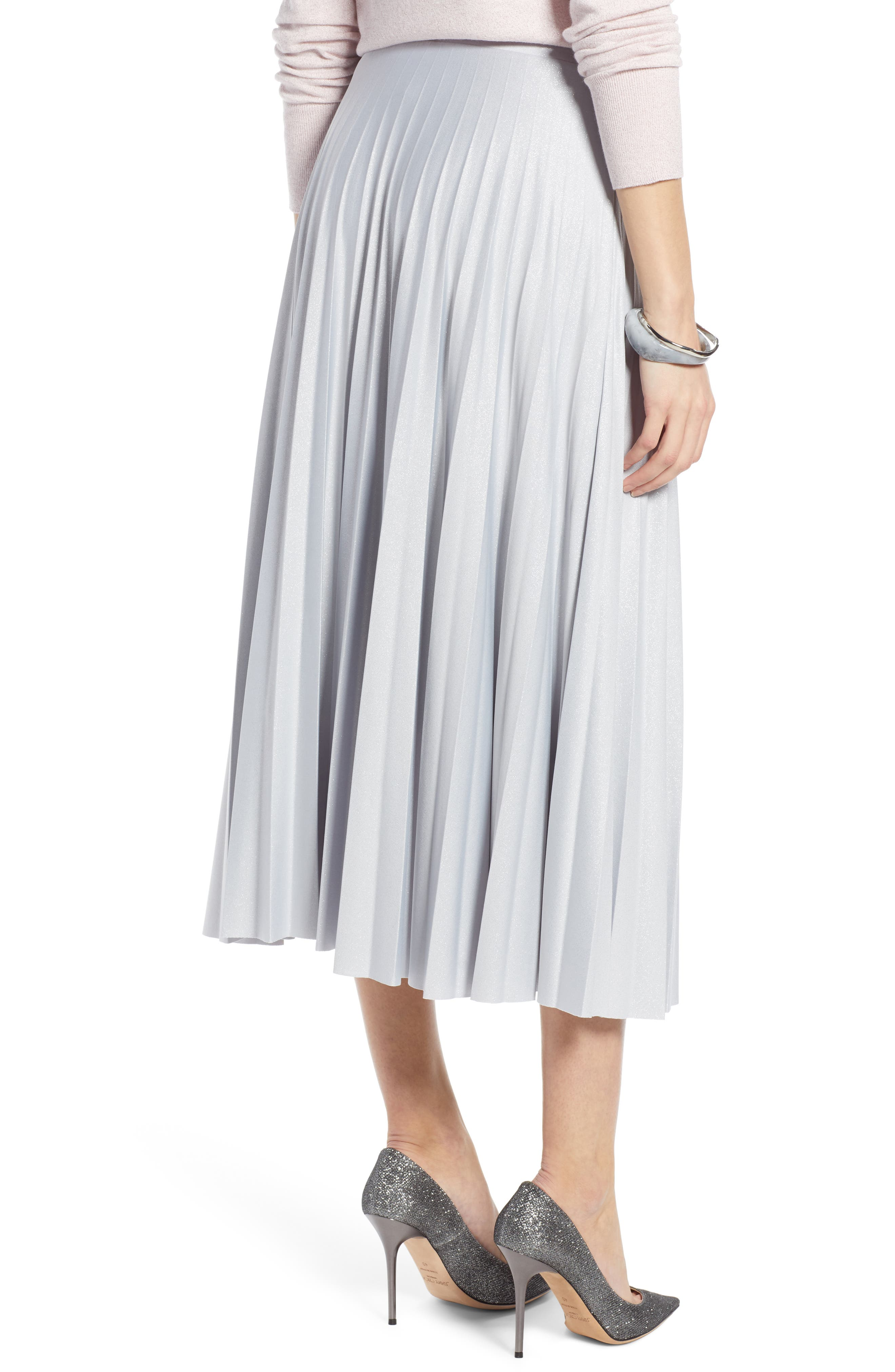 Metallic Pleat Midi Skirt,                             Alternate thumbnail 2, color,                             GREY- SILVER FOIL