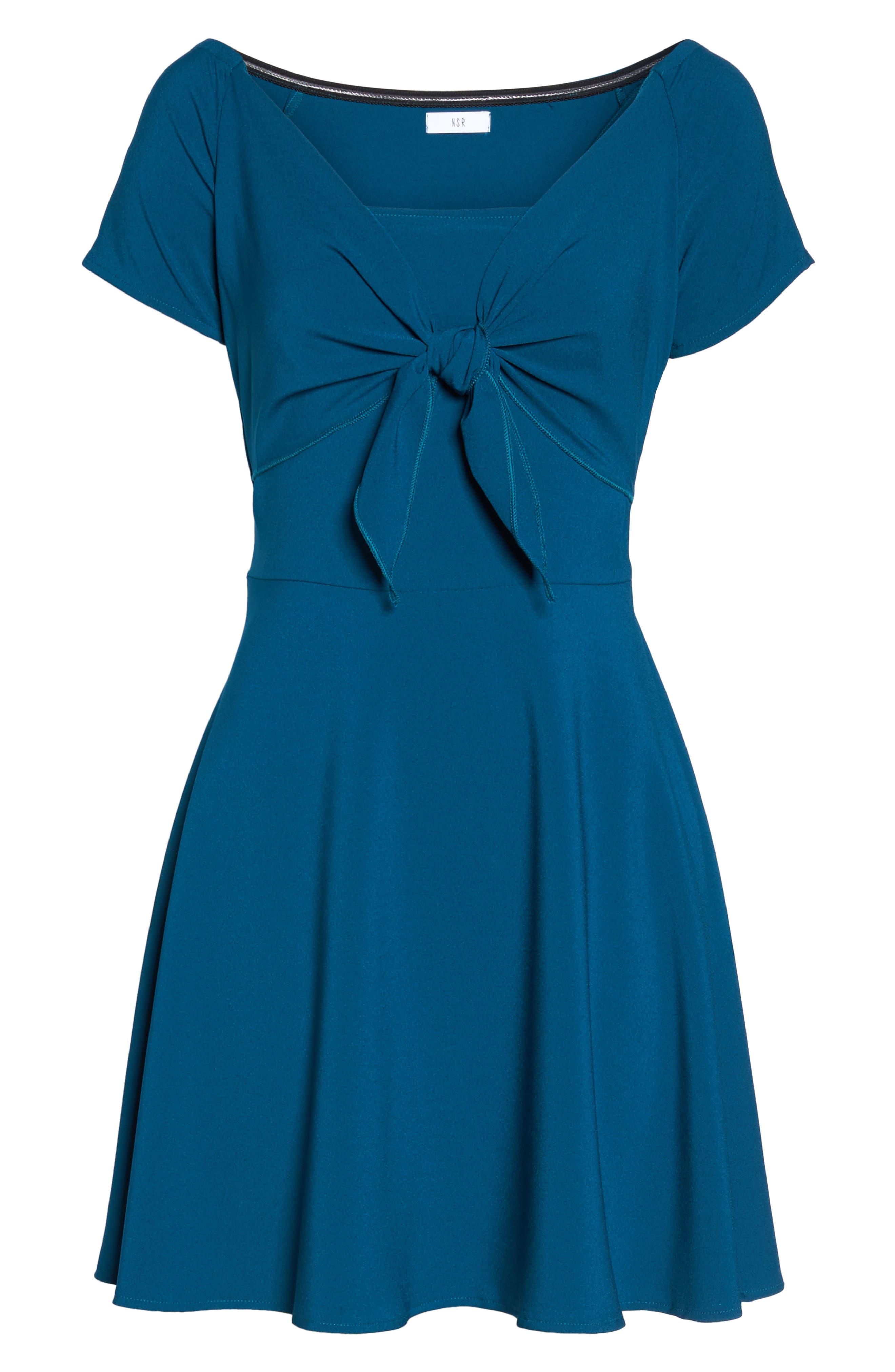 Tie Front Crepe Fit & Flare Dress,                             Alternate thumbnail 12, color,