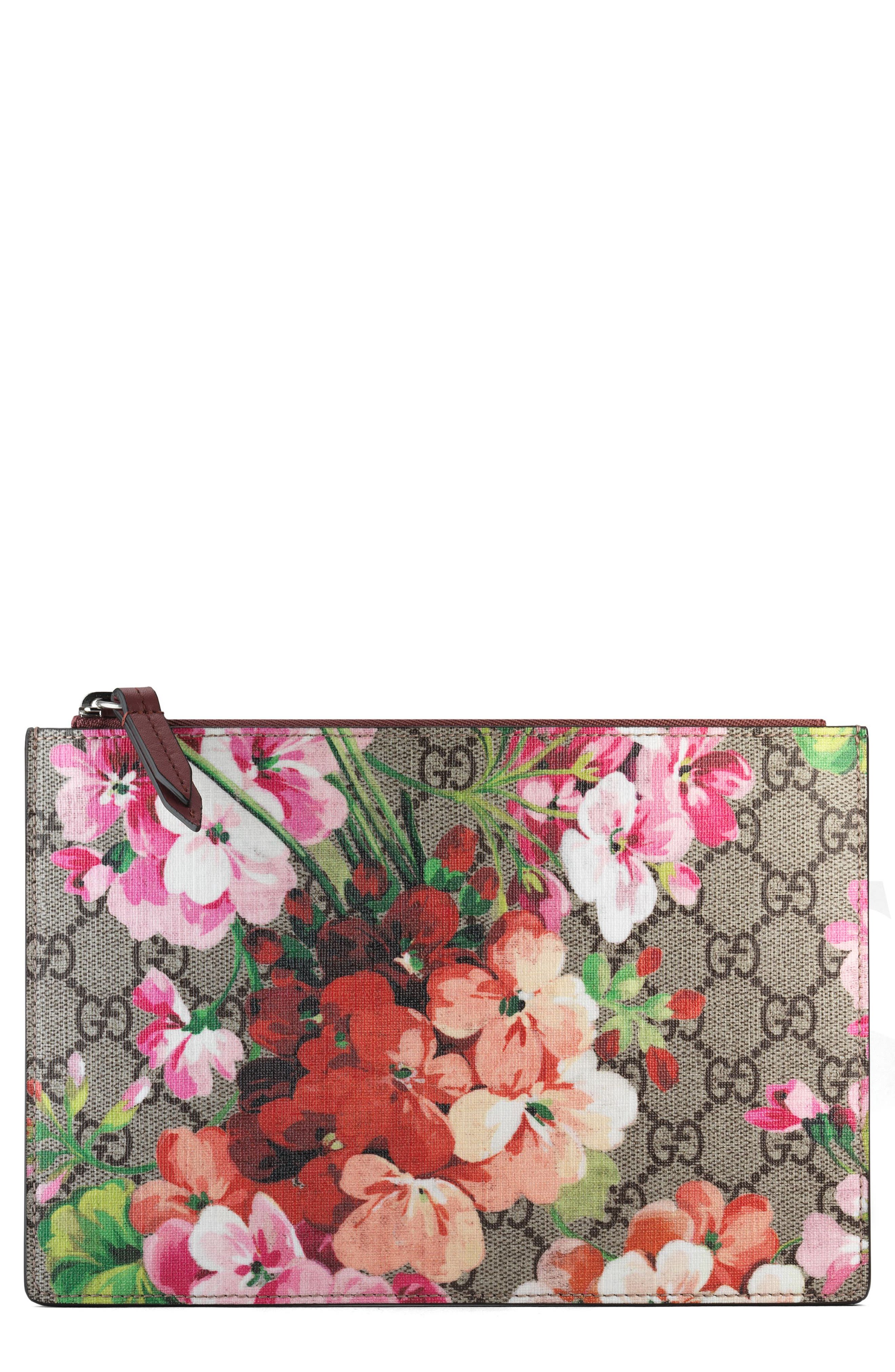 Small GG Blooms Canvas & Leather Pouch, Main, color, 250
