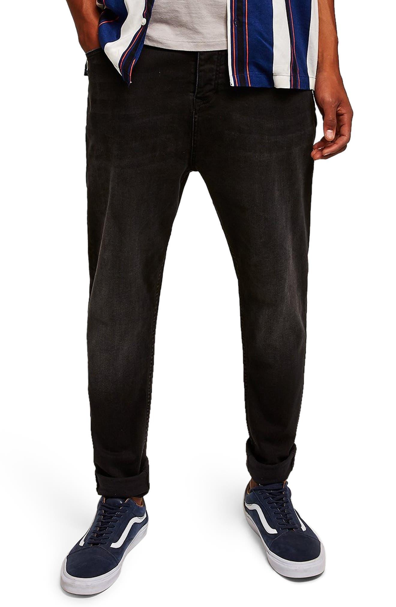 Topshop Jogger Skinny Jeans,                             Main thumbnail 1, color,                             BLACK