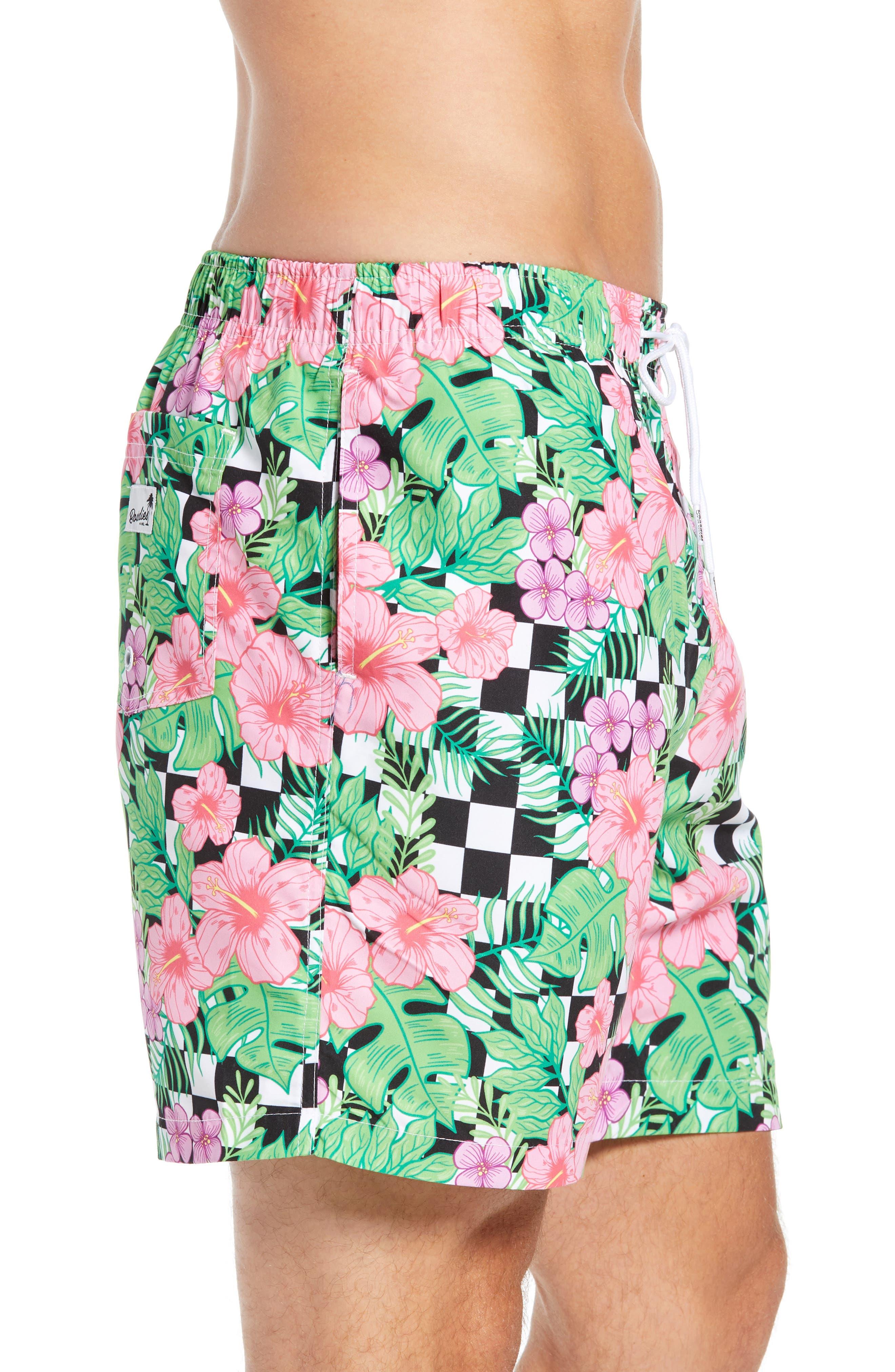 Checkerboard Floral Print Swim Trunks,                             Alternate thumbnail 3, color,                             MULTI
