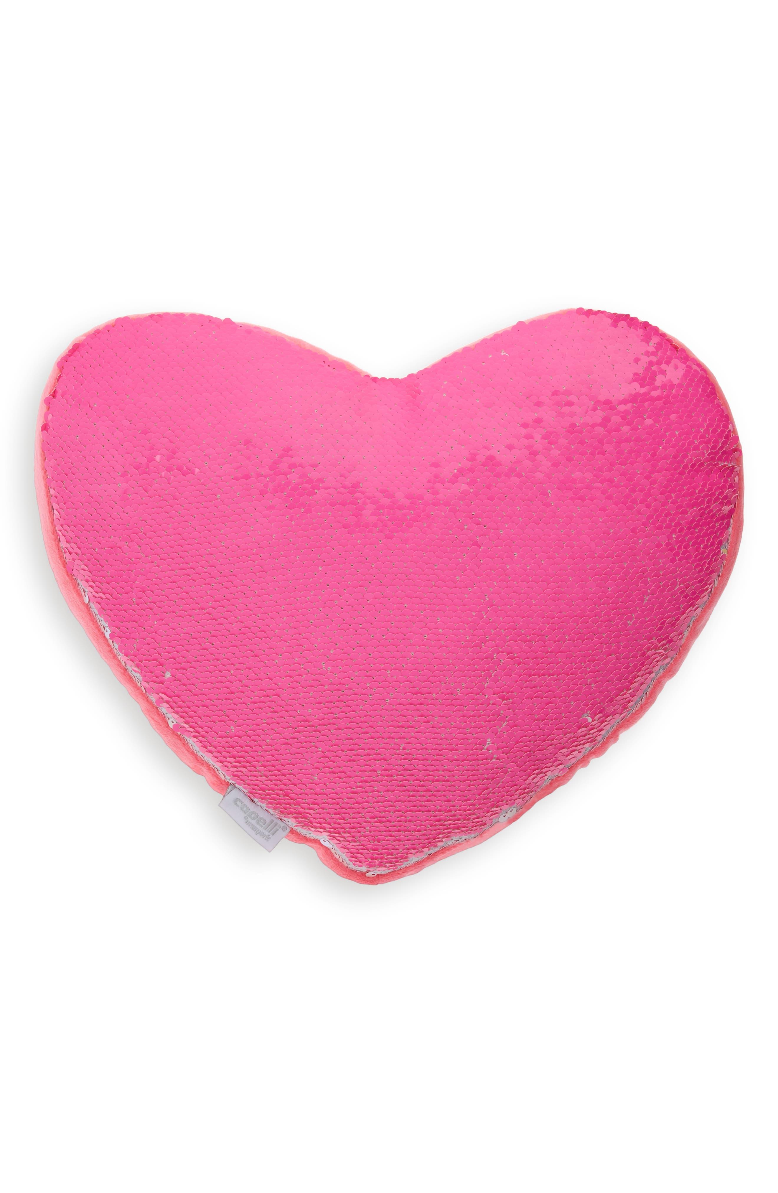 CAPELLI NEW YORK,                             Reversible Sequin Heart Pillow,                             Main thumbnail 1, color,                             PINK COMBO