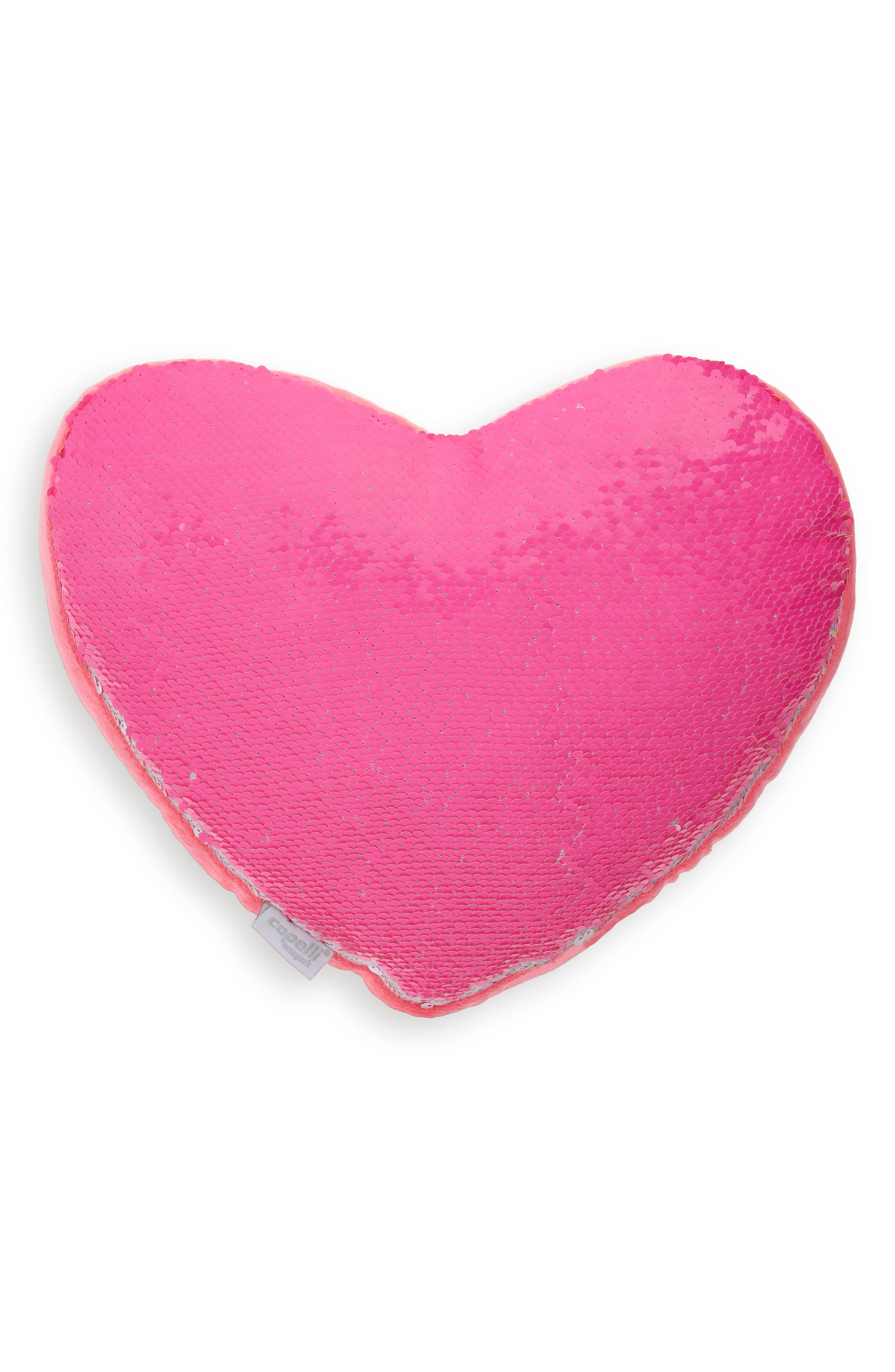 CAPELLI NEW YORK Reversible Sequin Heart Pillow, Main, color, PINK COMBO