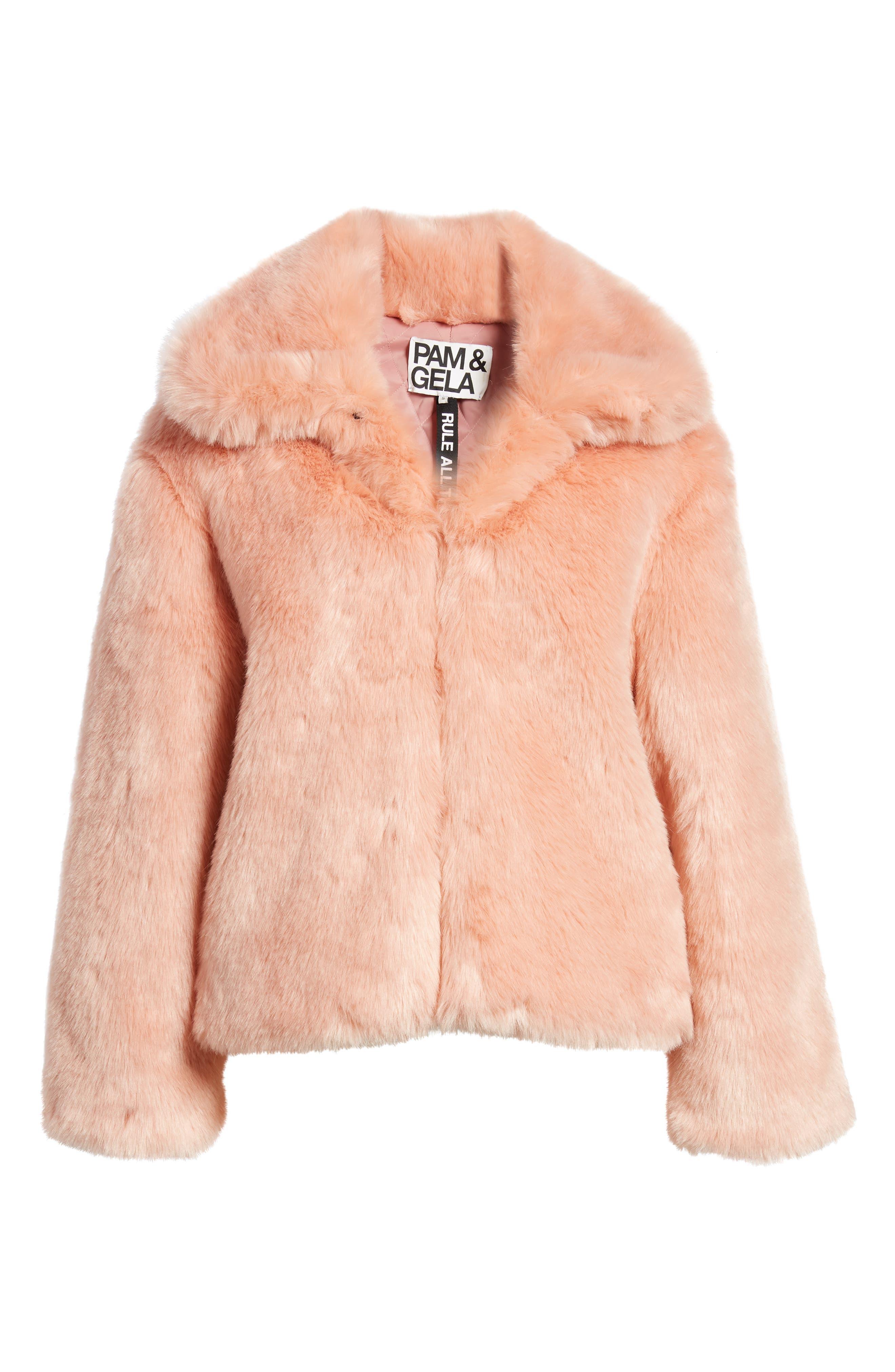 Boxy Faux Fur Coat,                             Alternate thumbnail 6, color,                             CHERRY BLOSSOM