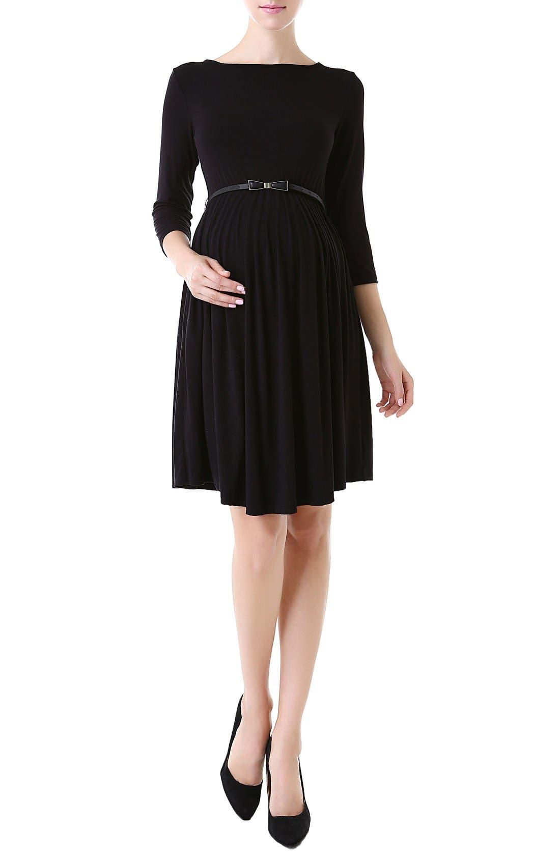 'Shannon' Maternity Dress,                             Main thumbnail 1, color,                             BLACK