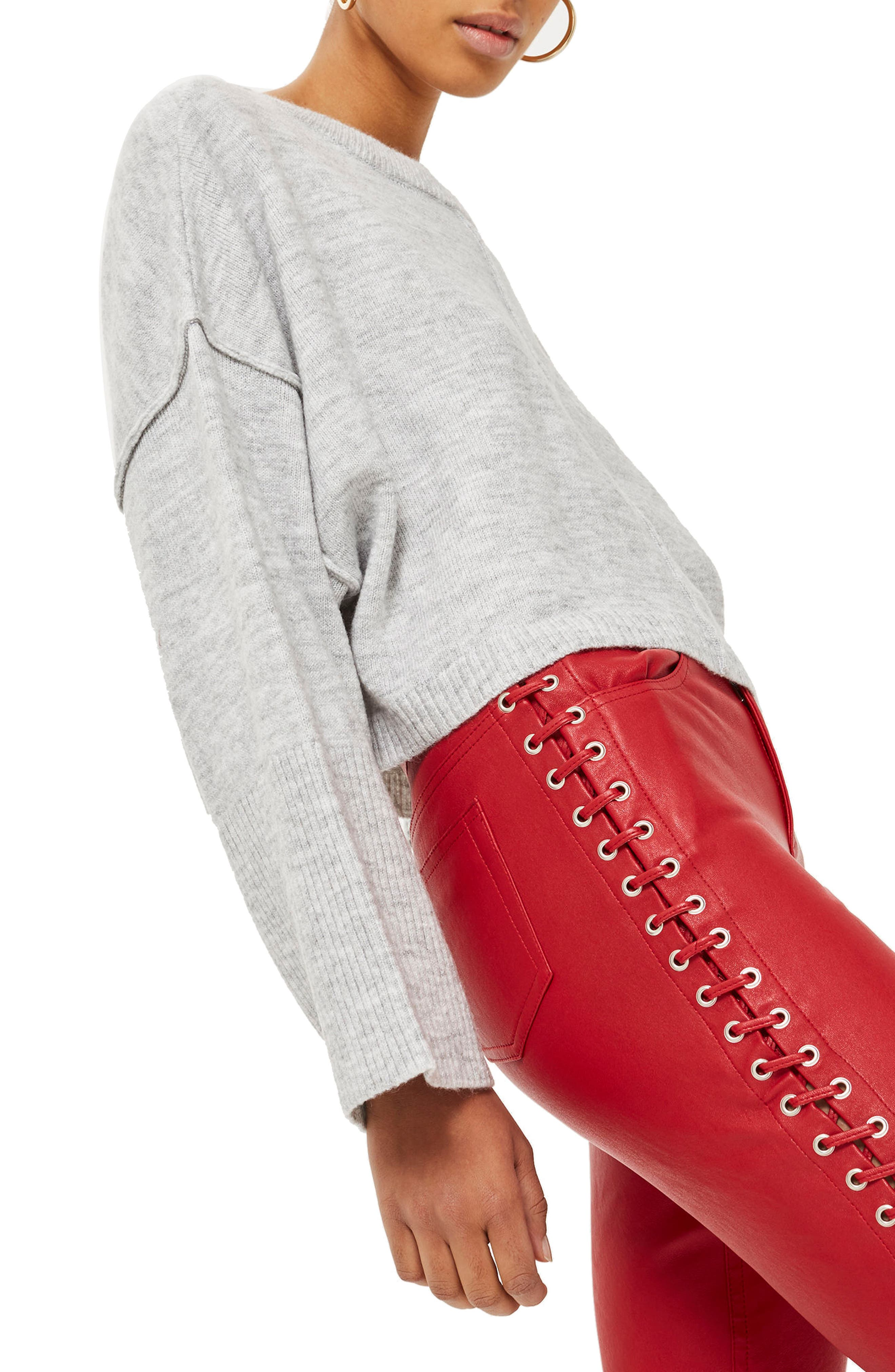 Wide Sleeve Crop Sweater,                             Alternate thumbnail 3, color,                             020