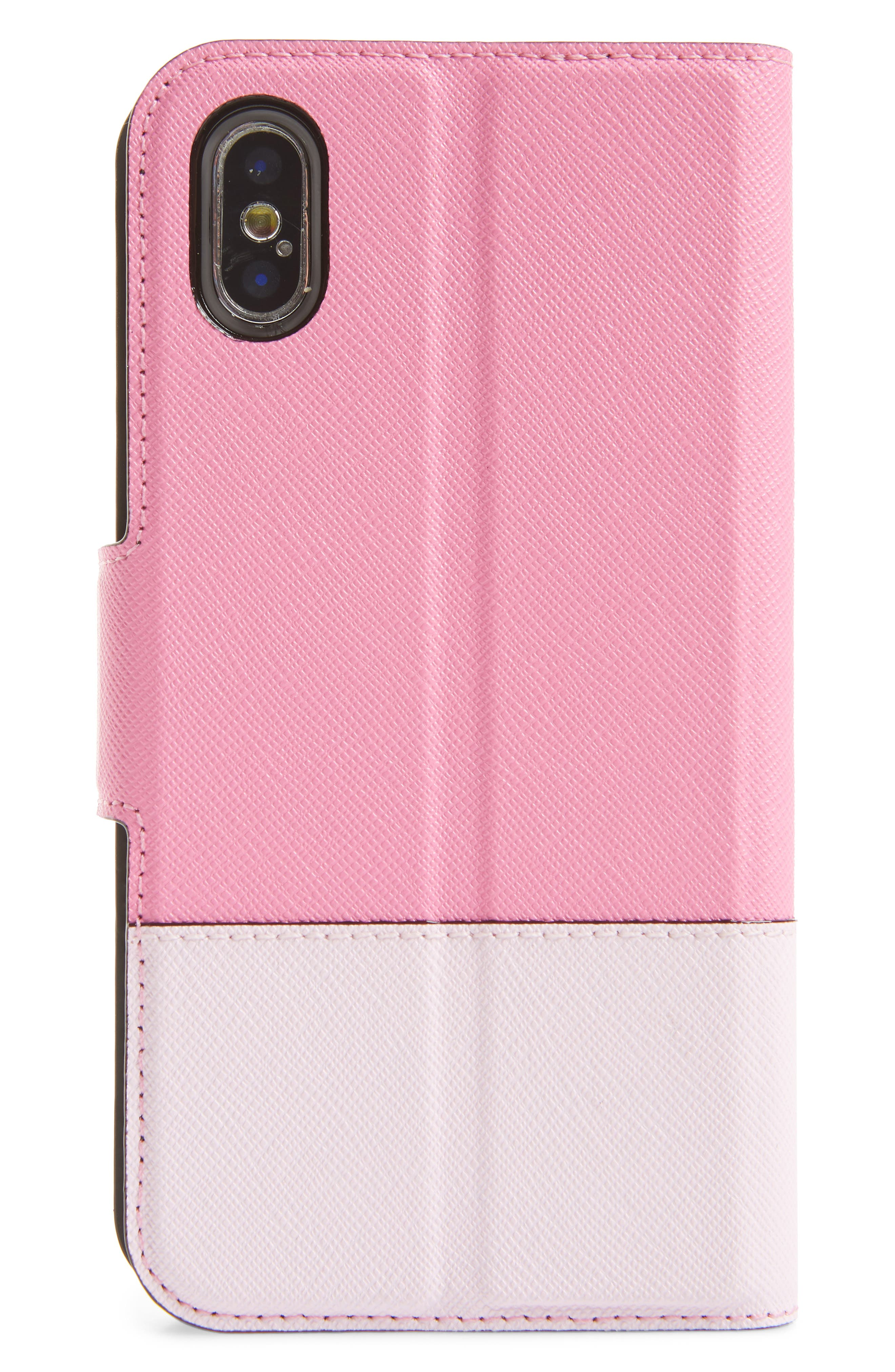 leather wrap iPhone X/Xs folio case,                             Alternate thumbnail 3, color,                             691