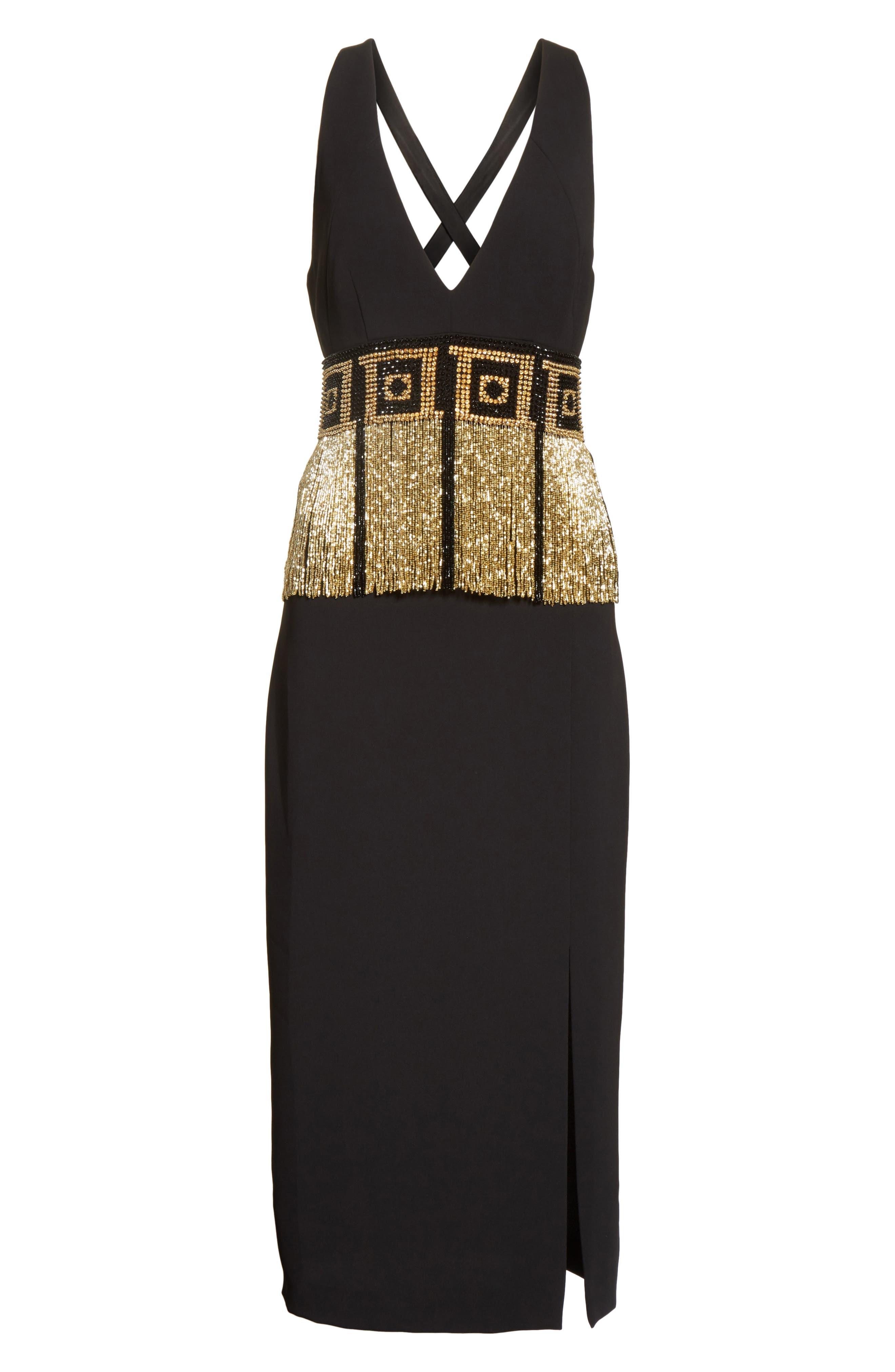 Beaded Fringe Waist Dress,                             Alternate thumbnail 6, color,