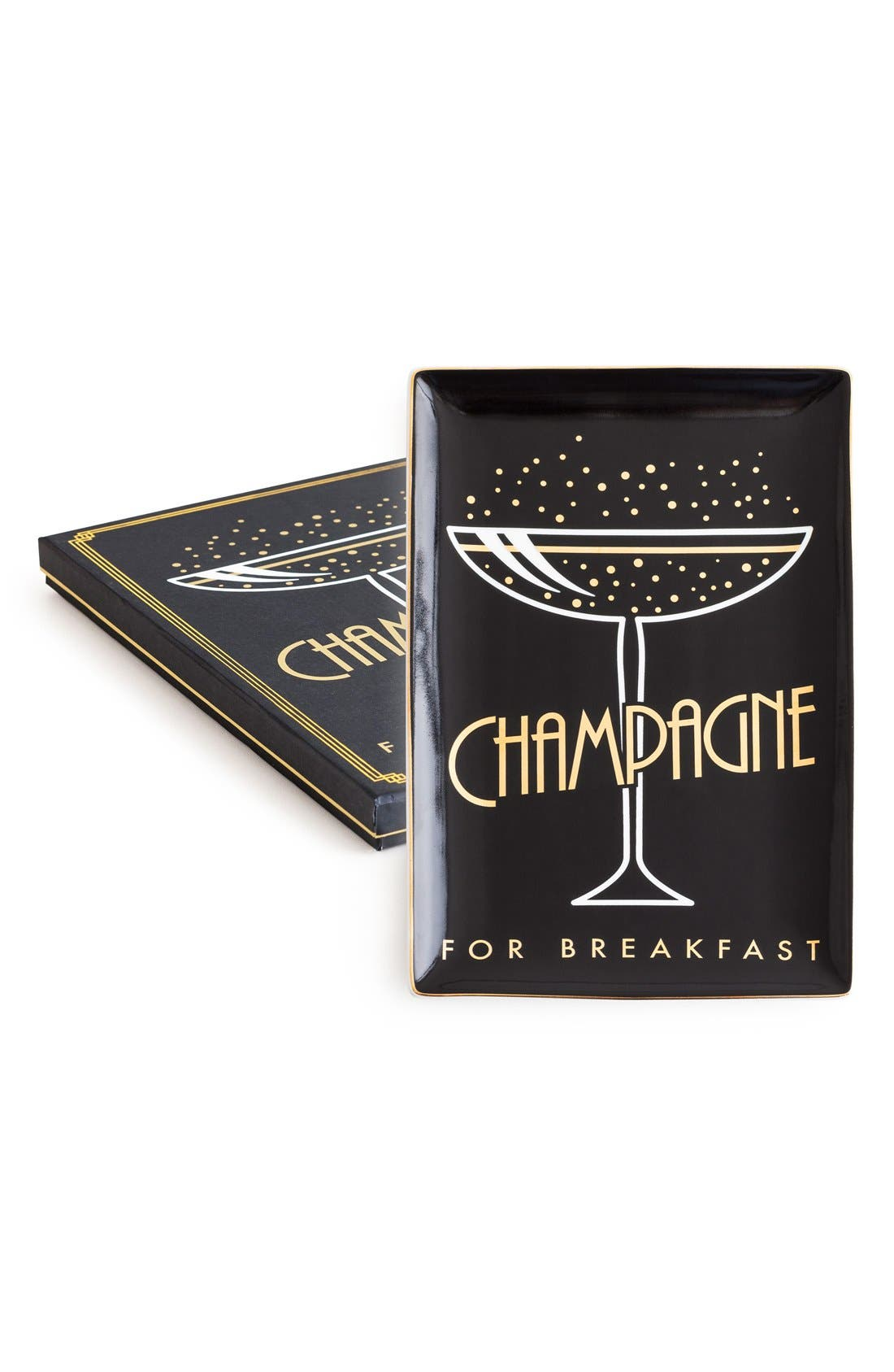 Champagne for Breakfast Porcelain Trinket Tray,                             Main thumbnail 1, color,                             001