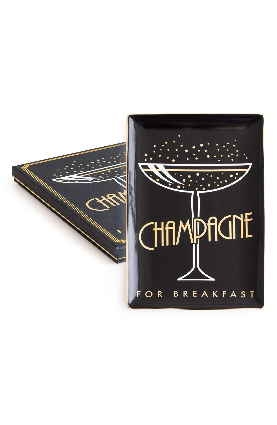 Champagne for Breakfast Porcelain Trinket Tray,                         Main,                         color, 001