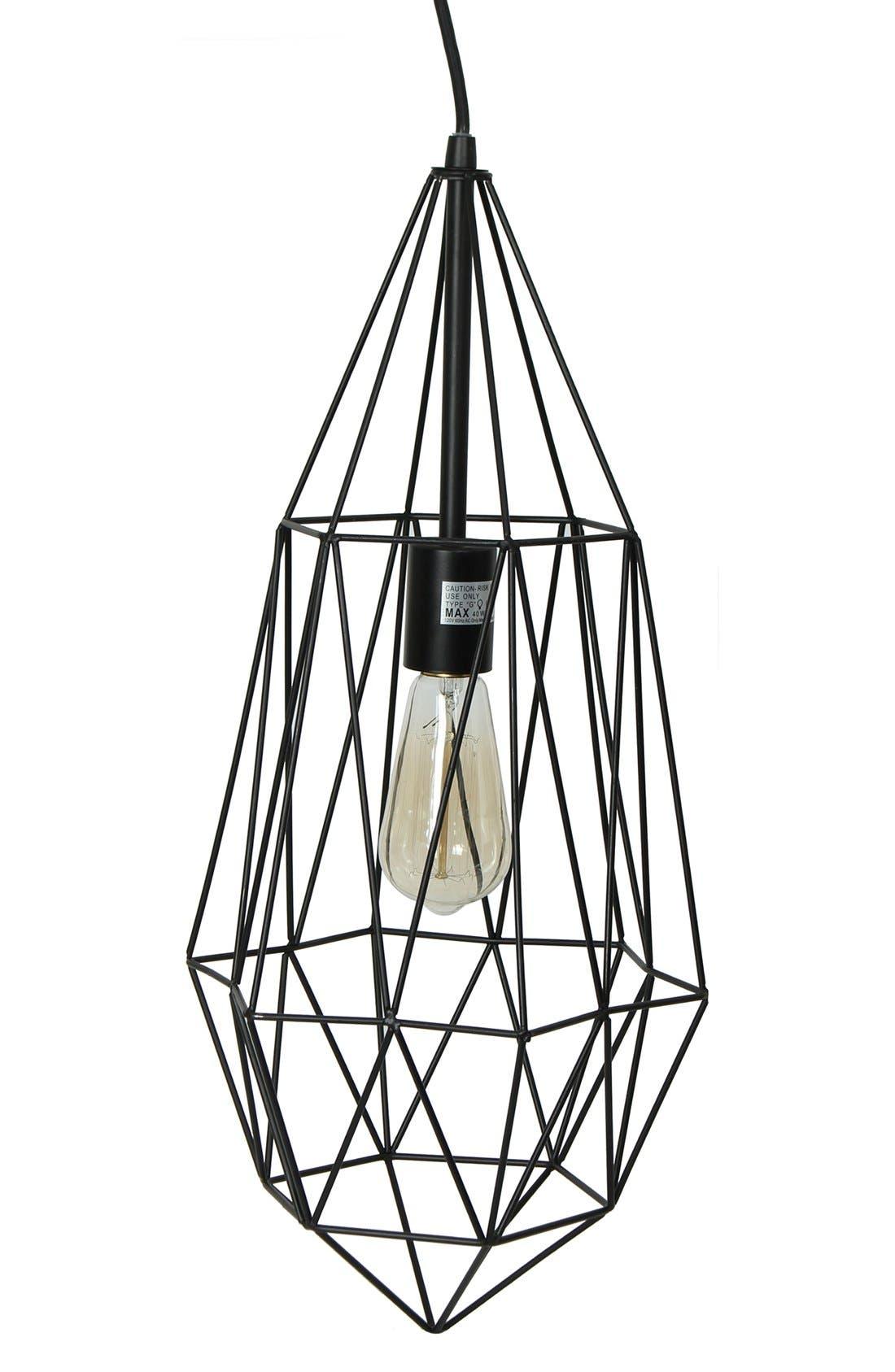 Caged Edison Bulb Pendant Lamp,                             Main thumbnail 1, color,                             001