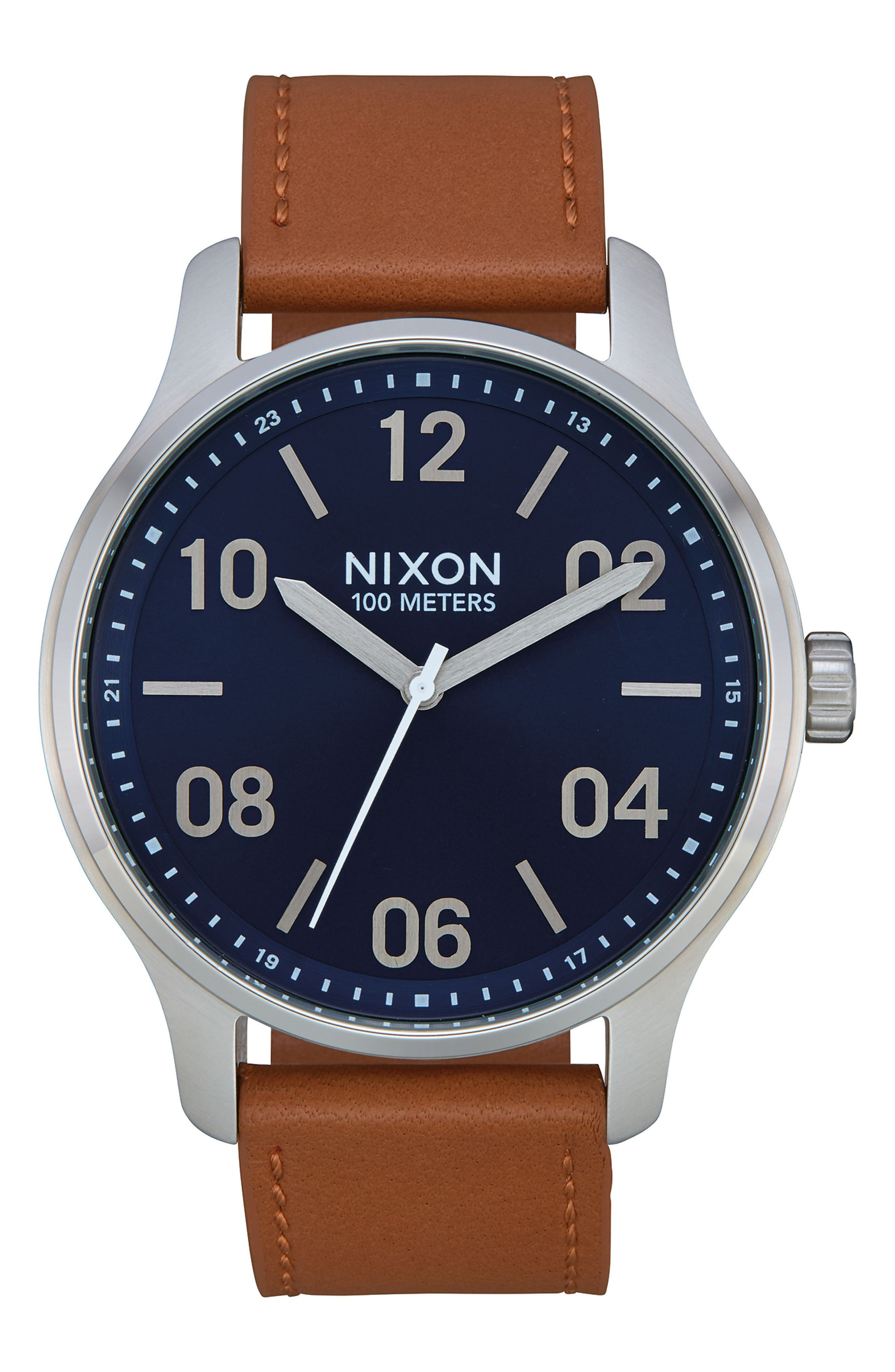 Patrol Leather Strap Watch, 42mm,                         Main,                         color, BROWN/ NAVY/ SILVER