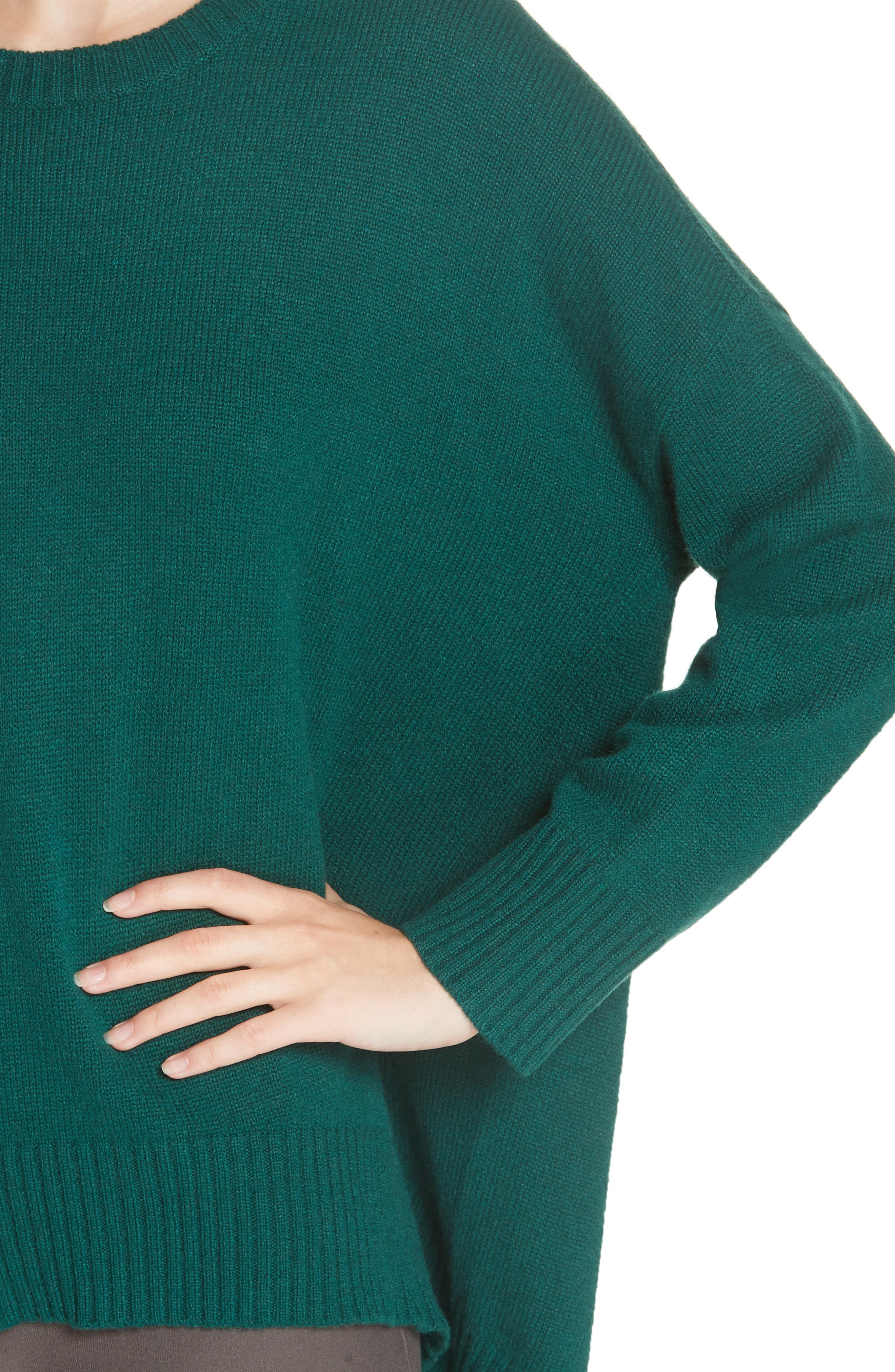 Cashmere & Wool Blend Oversize Sweater,                             Alternate thumbnail 4, color,                             PINE