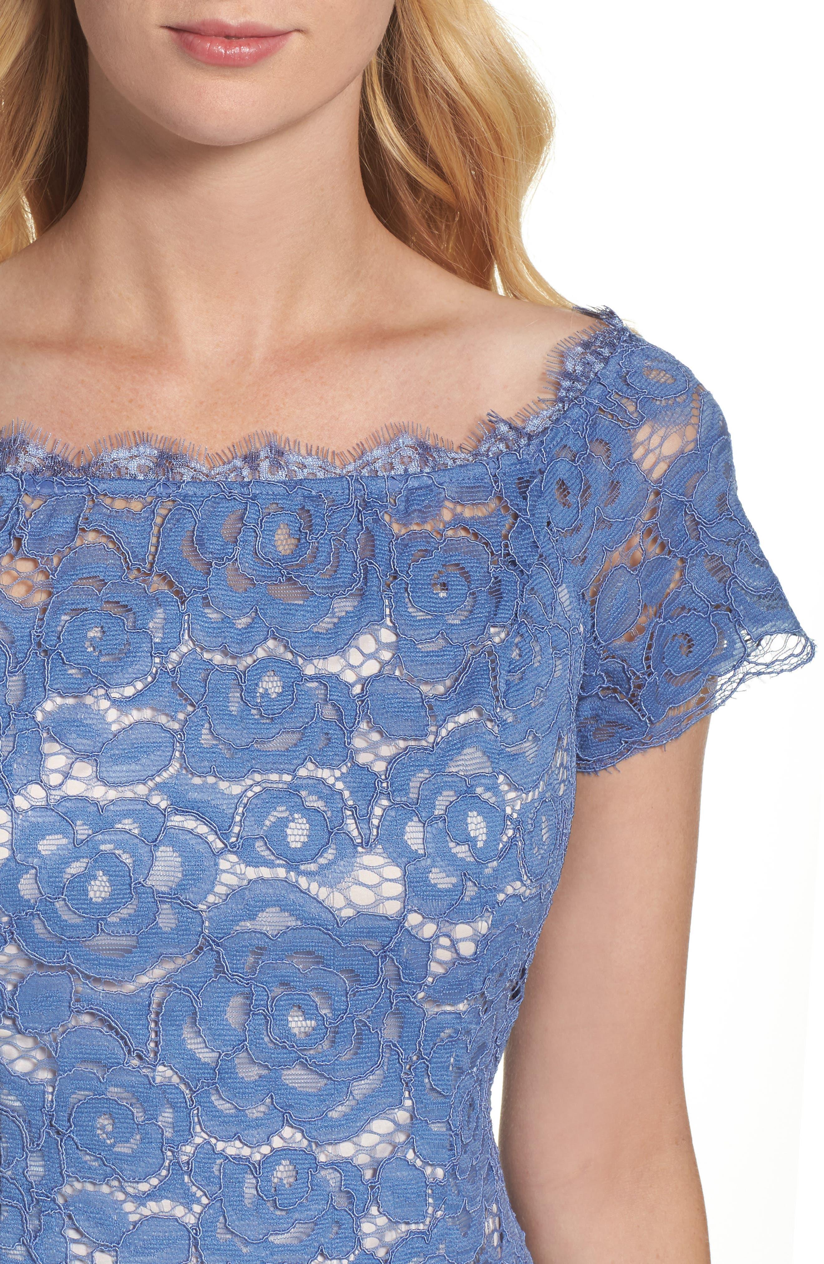 Off the Shoulder Lace Sheath Dress,                             Alternate thumbnail 20, color,