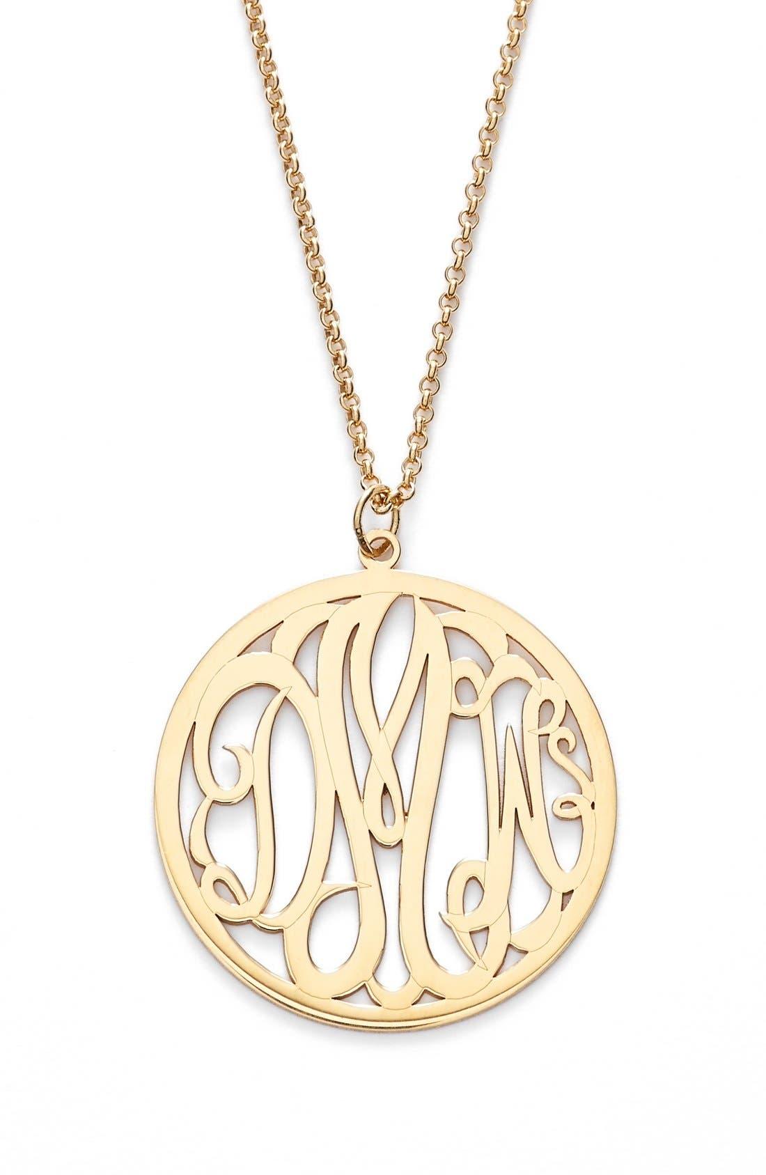 Personalized 3-Letter Monogram Necklace,                             Main thumbnail 1, color,                             GOLD