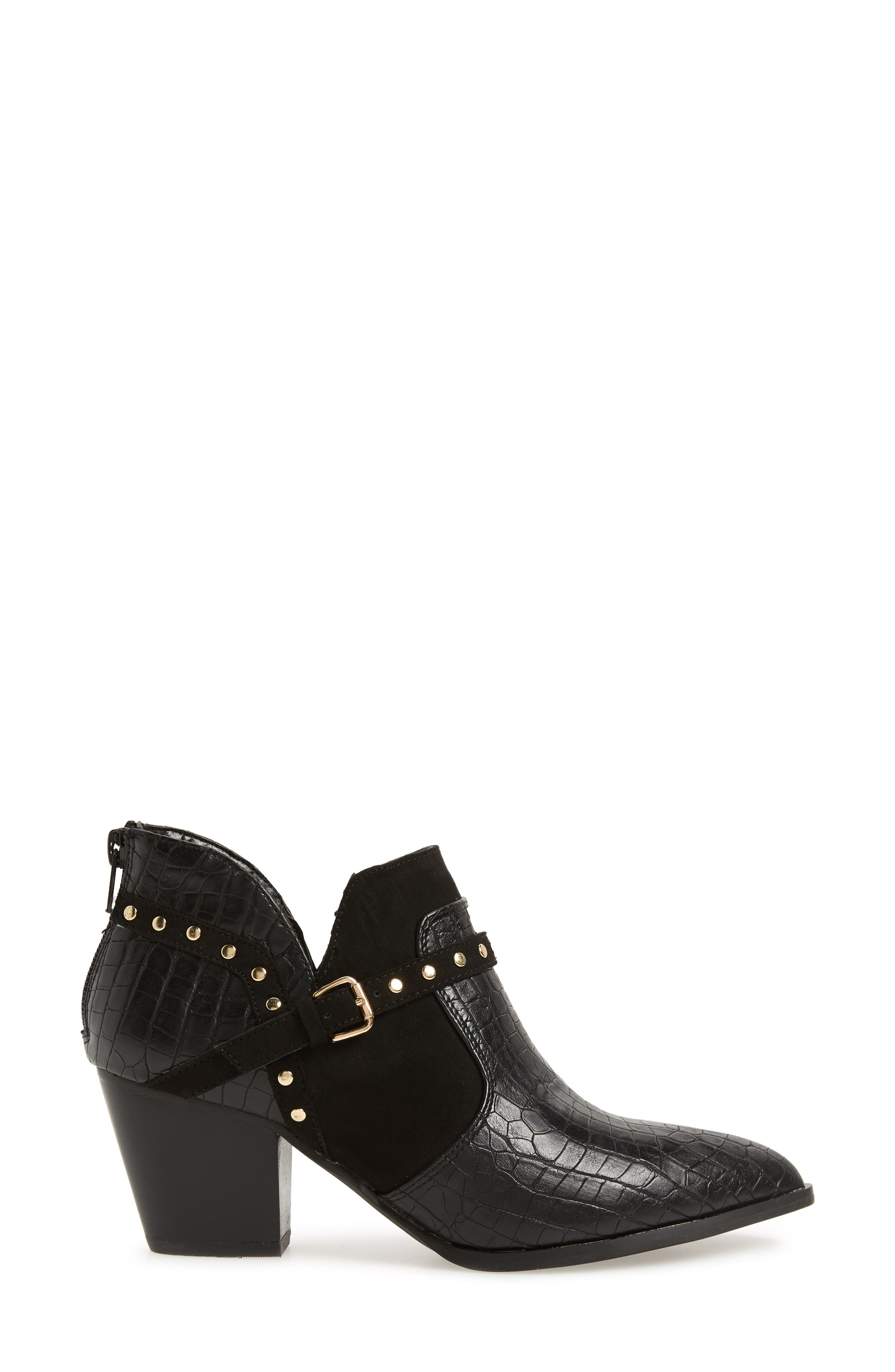 Elody II Pointy Toe Bootie,                             Alternate thumbnail 3, color,                             BLACK