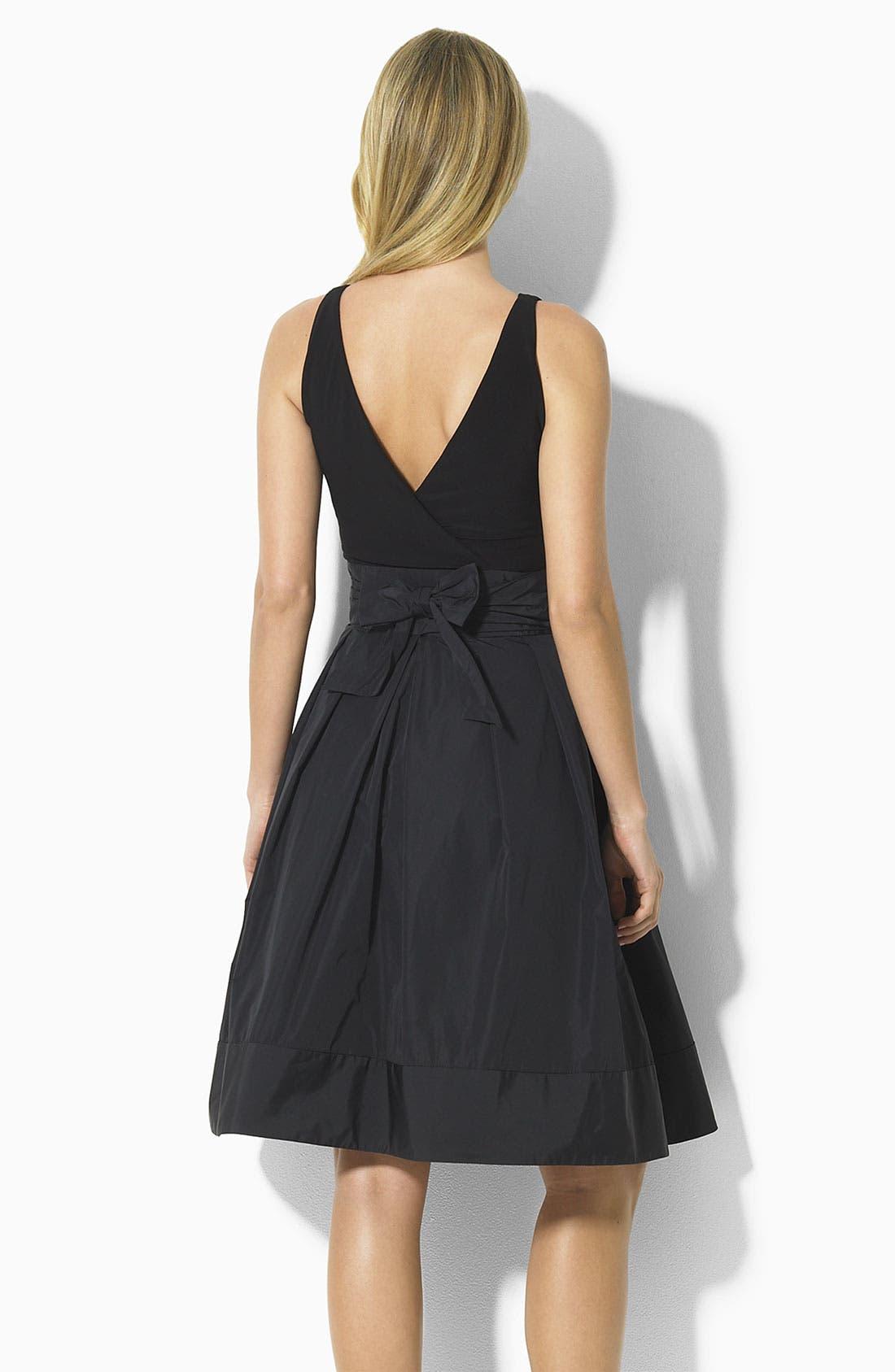 Lauren by Ralph Lauren 'Yuko' Jersey & Taffeta Dress,                             Alternate thumbnail 2, color,                             001