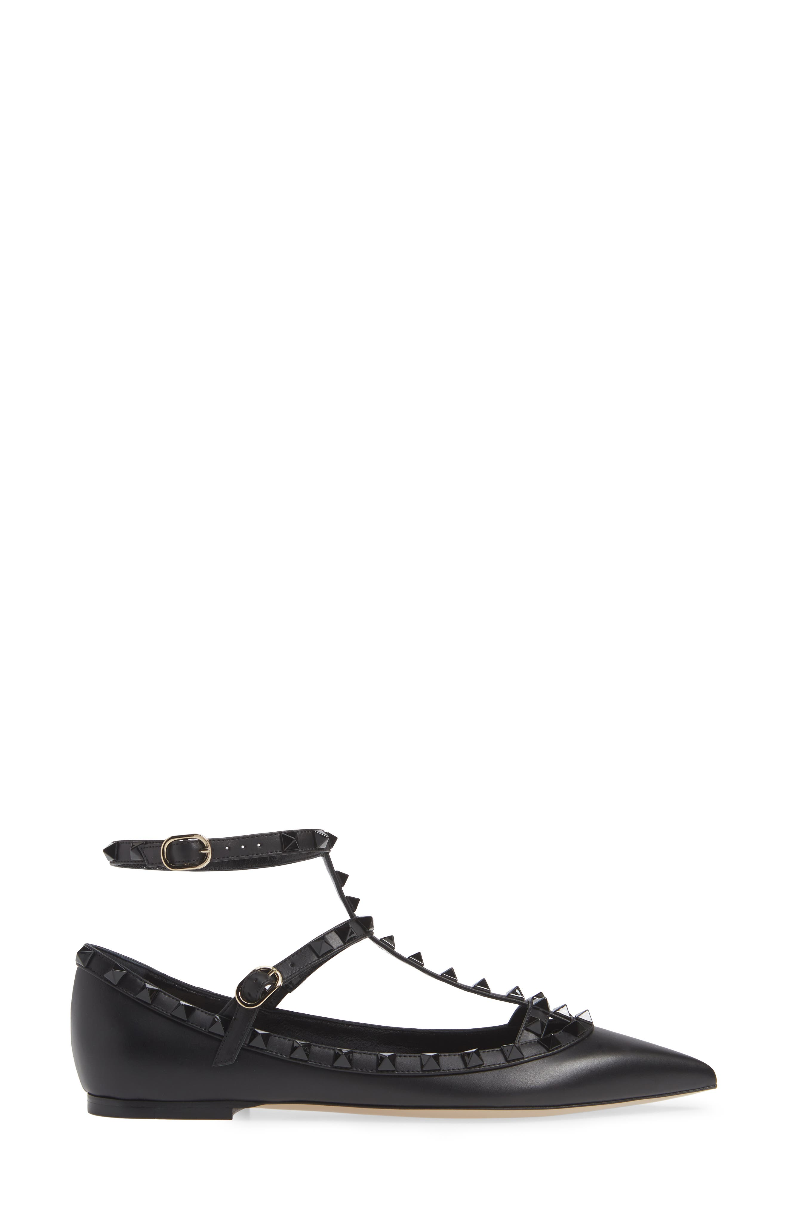 Rockstud Double Ankle Strap Pointy Toe Flat,                             Alternate thumbnail 3, color,                             BLACK