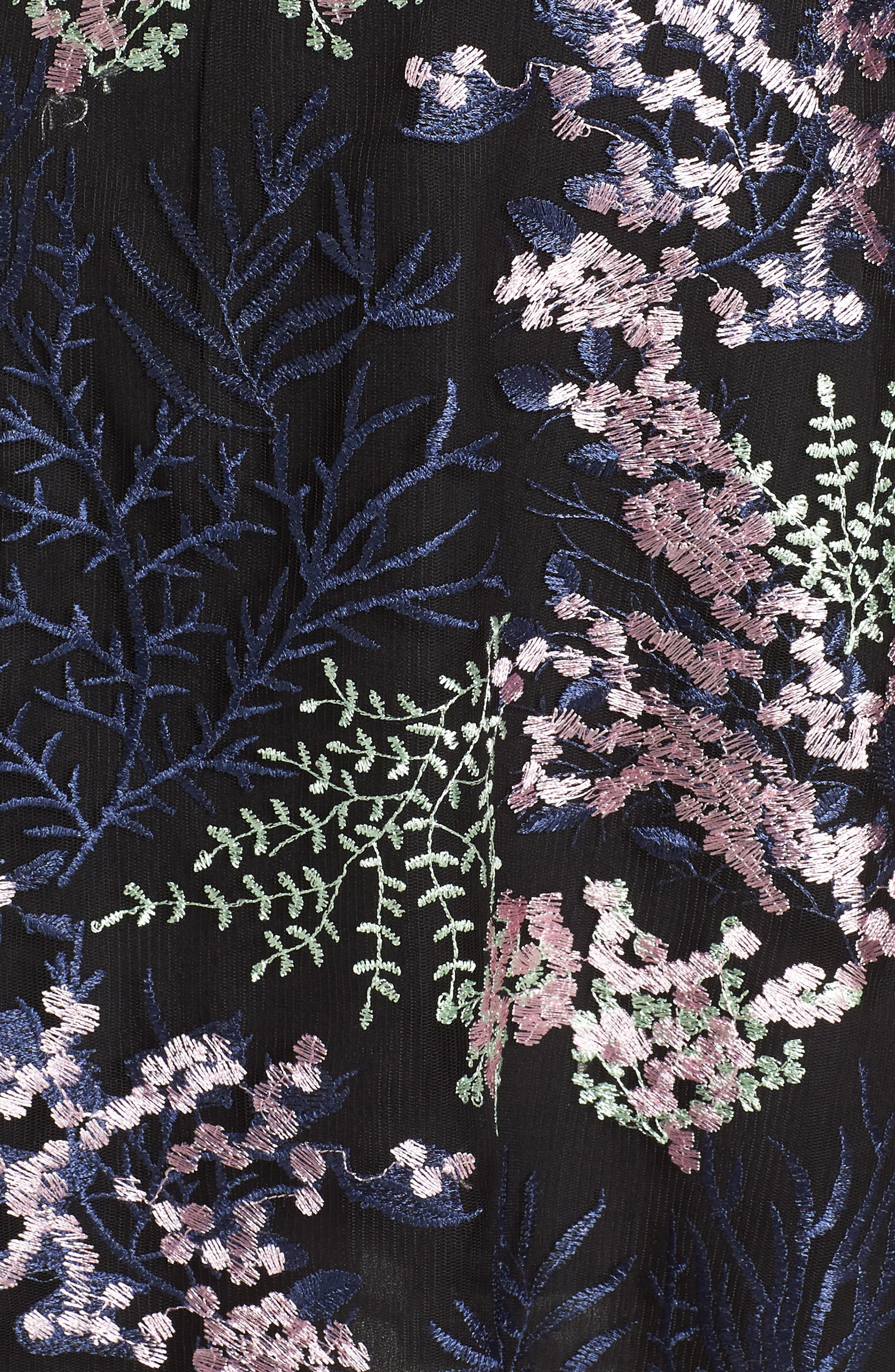Embroidered Lace A-Line Dress,                             Alternate thumbnail 6, color,                             BLACK FLOWY FLORAL