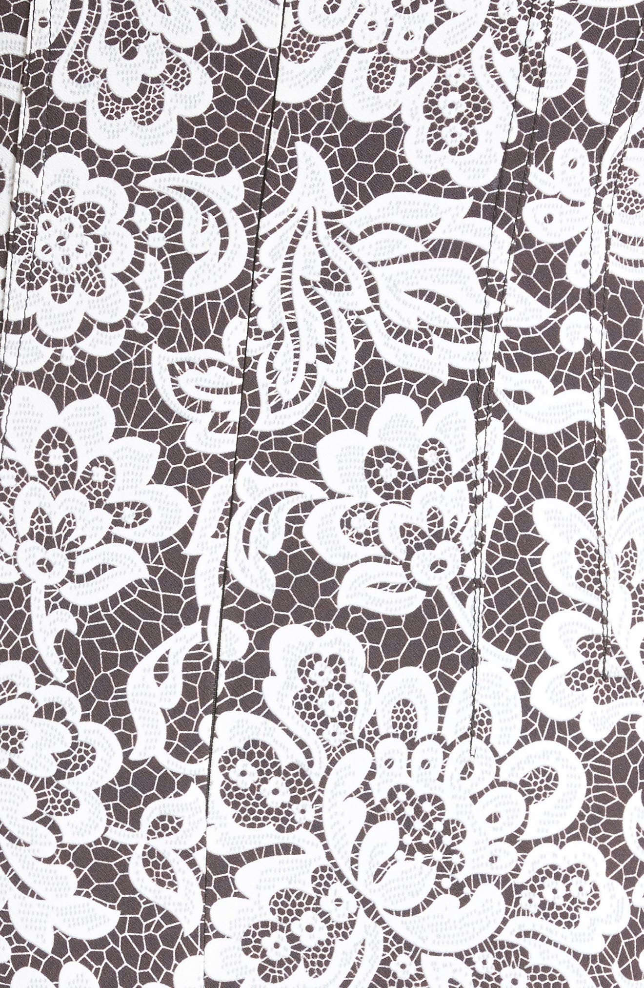 Stretch Cady Lace Print Sheath Dress,                             Alternate thumbnail 6, color,                             001