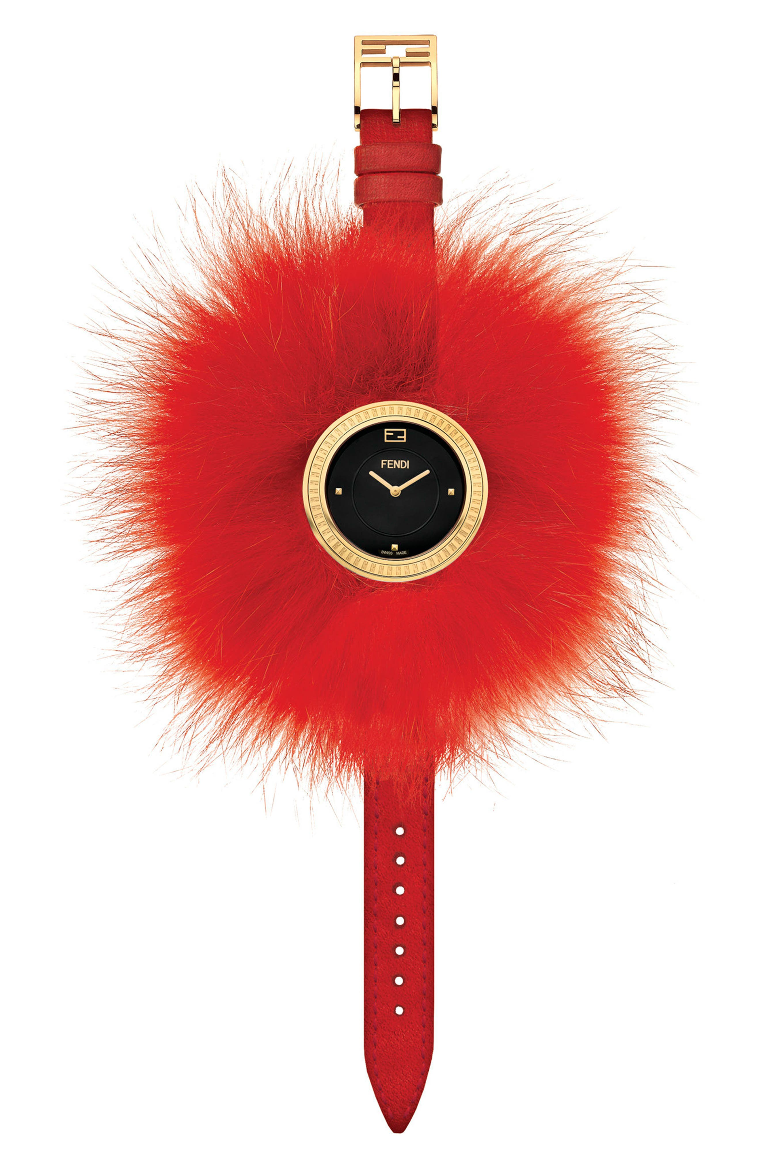 My Way Genuine Fox Fur Leather Strap Watch, 36mm,                             Alternate thumbnail 2, color,                             RED/ BLACK MOP/ GOLD
