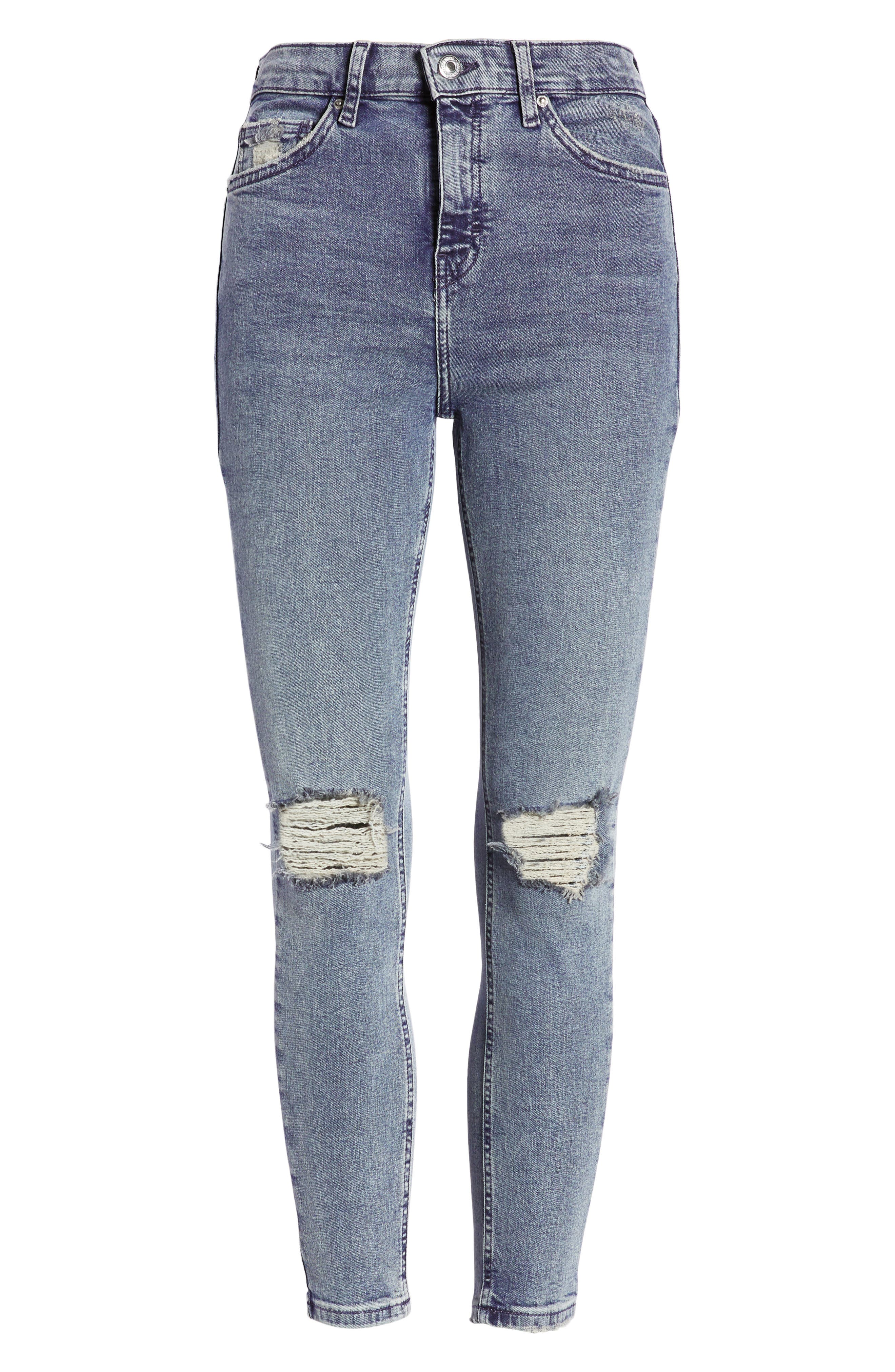 TOPSHOP,                             Jamie Ripped Skinny Jeans,                             Alternate thumbnail 7, color,                             GREY