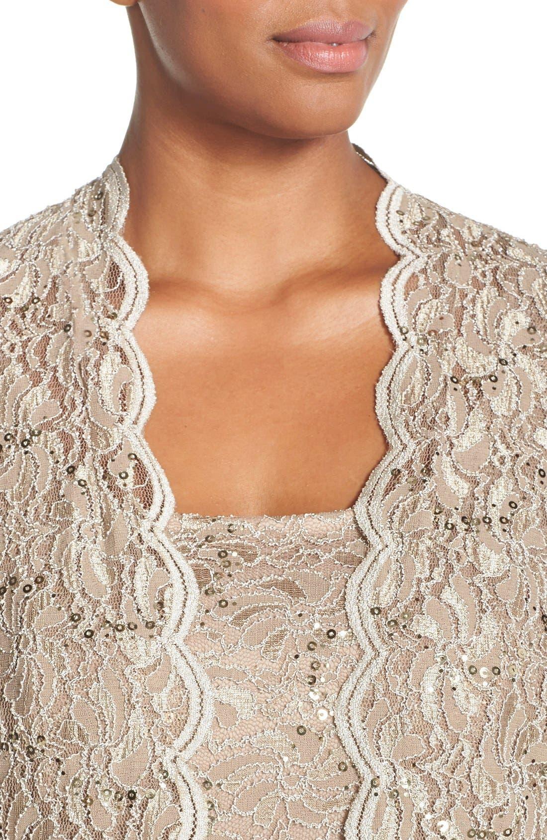 Lace Dress & Jacket,                             Alternate thumbnail 9, color,                             CHAMPAGNE