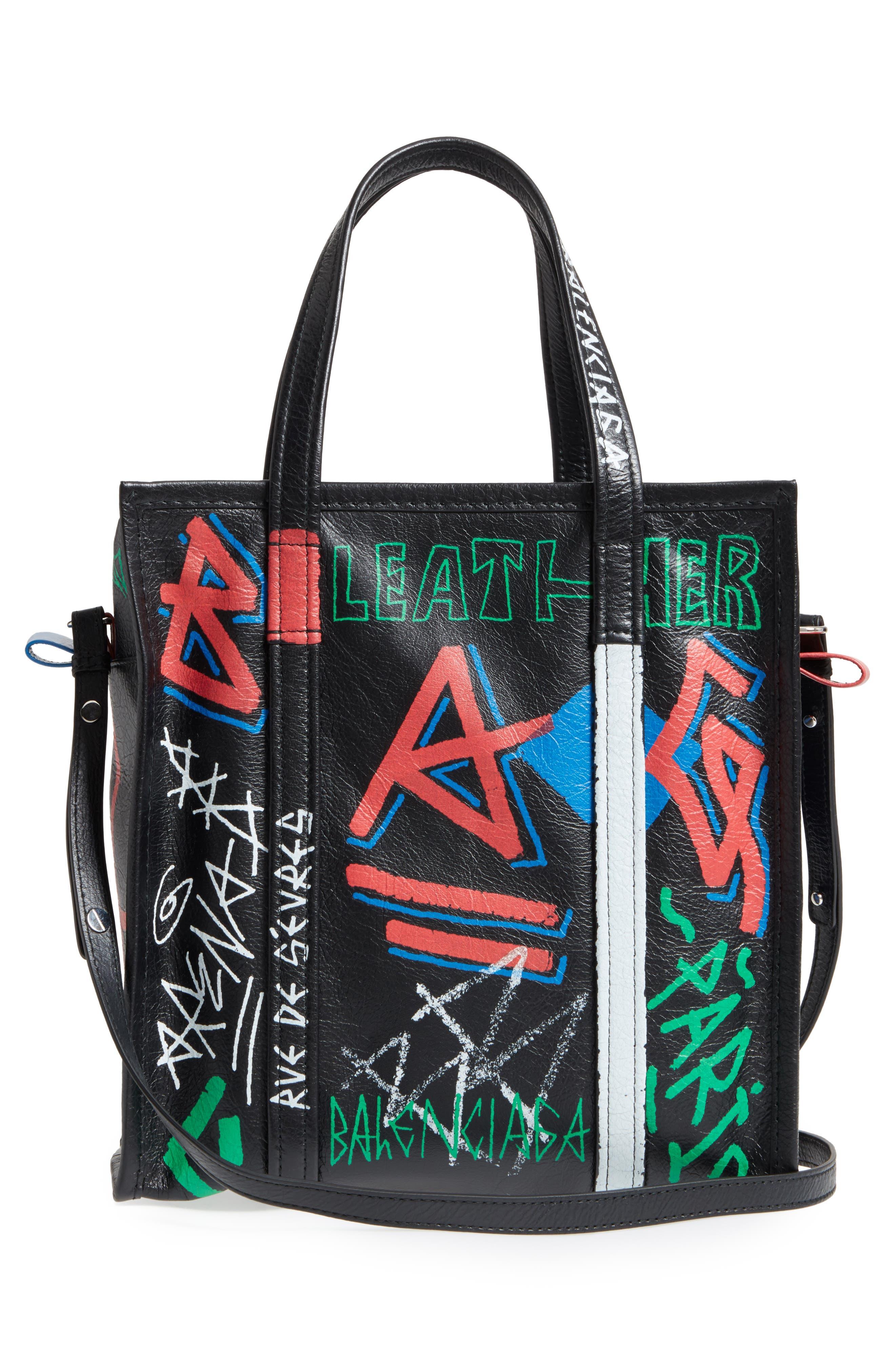 Small Bazar Grafitti Leather Shopper,                             Alternate thumbnail 3, color,                             NOIR/ COLOR