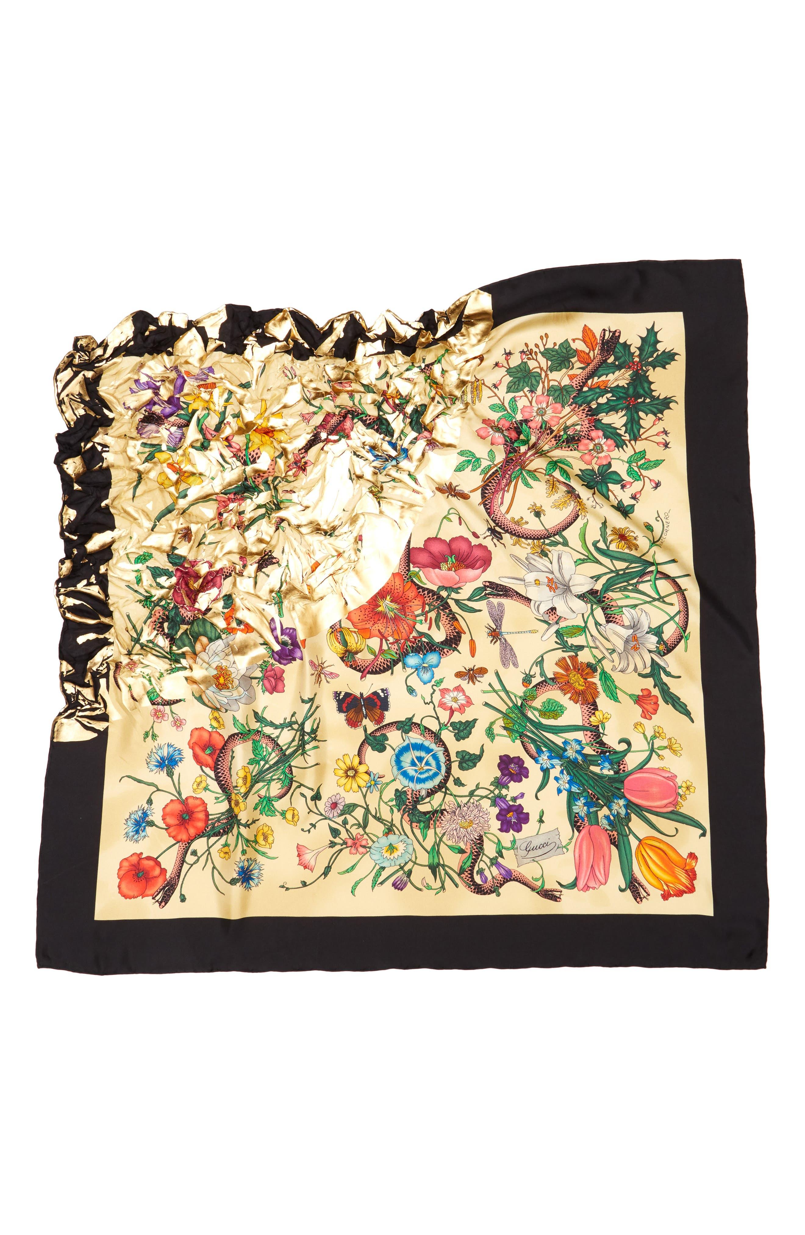Gold Snake Foulard Silk Scarf,                             Alternate thumbnail 3, color,                             IVORY/ YELLOW