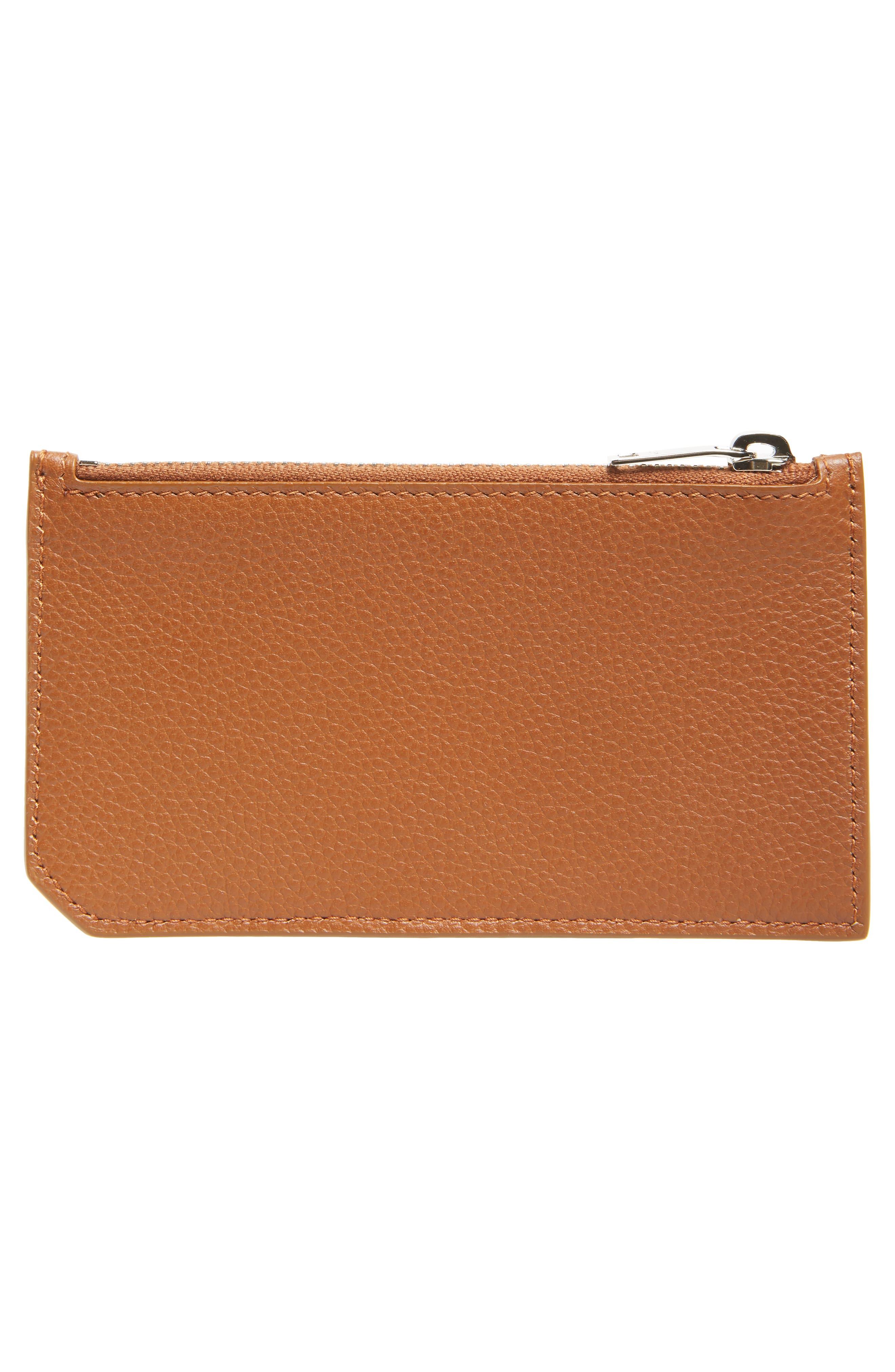 Leather Zip Wallet,                             Alternate thumbnail 2, color,                             FAUVE