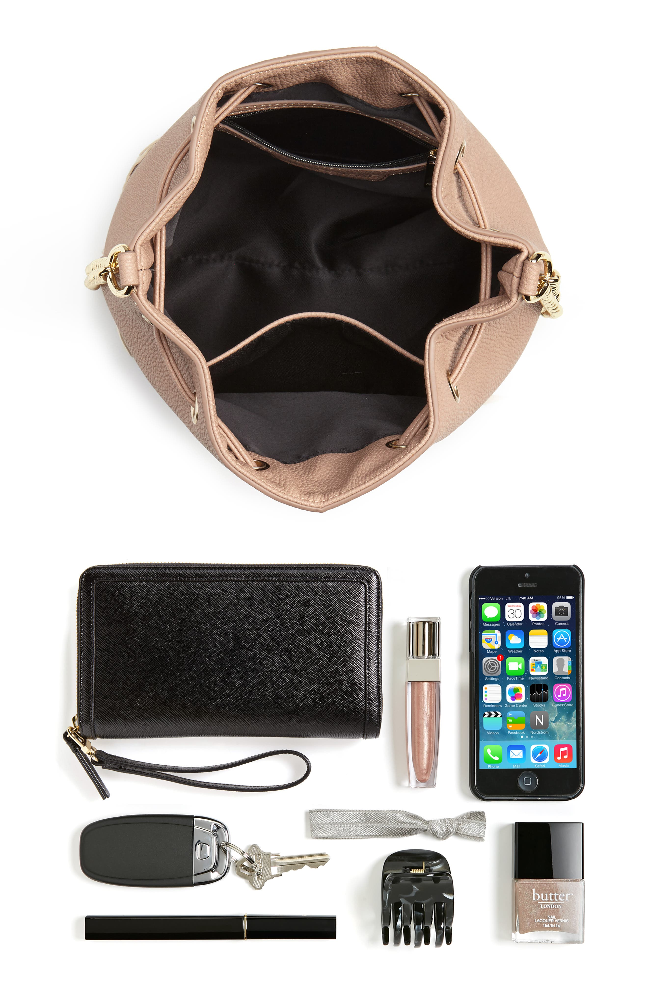 Veronica Faux Leather Bucket Bag,                             Alternate thumbnail 13, color,