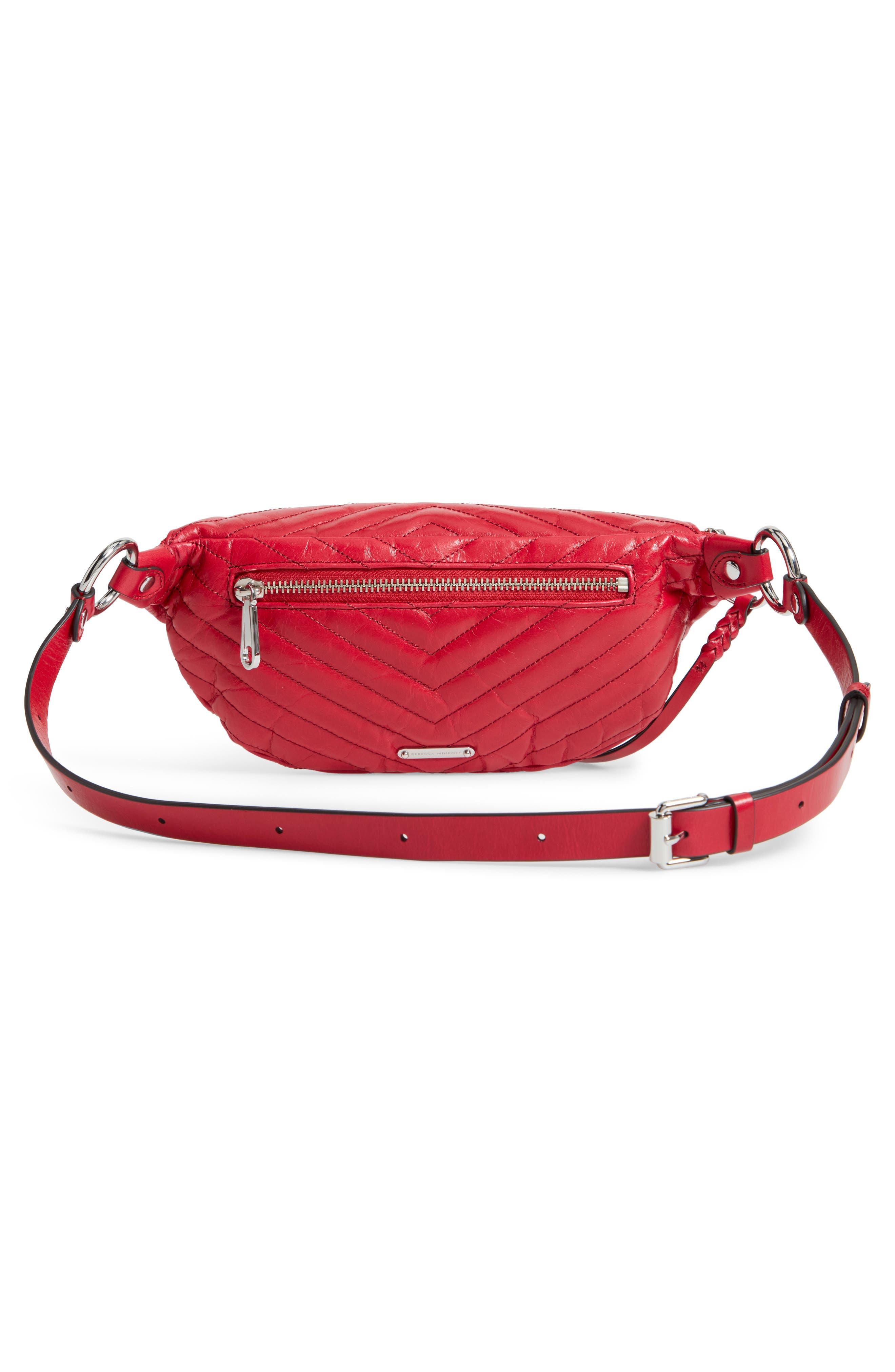 Edie Leather Belt Bag,                             Alternate thumbnail 4, color,                             SCARLET