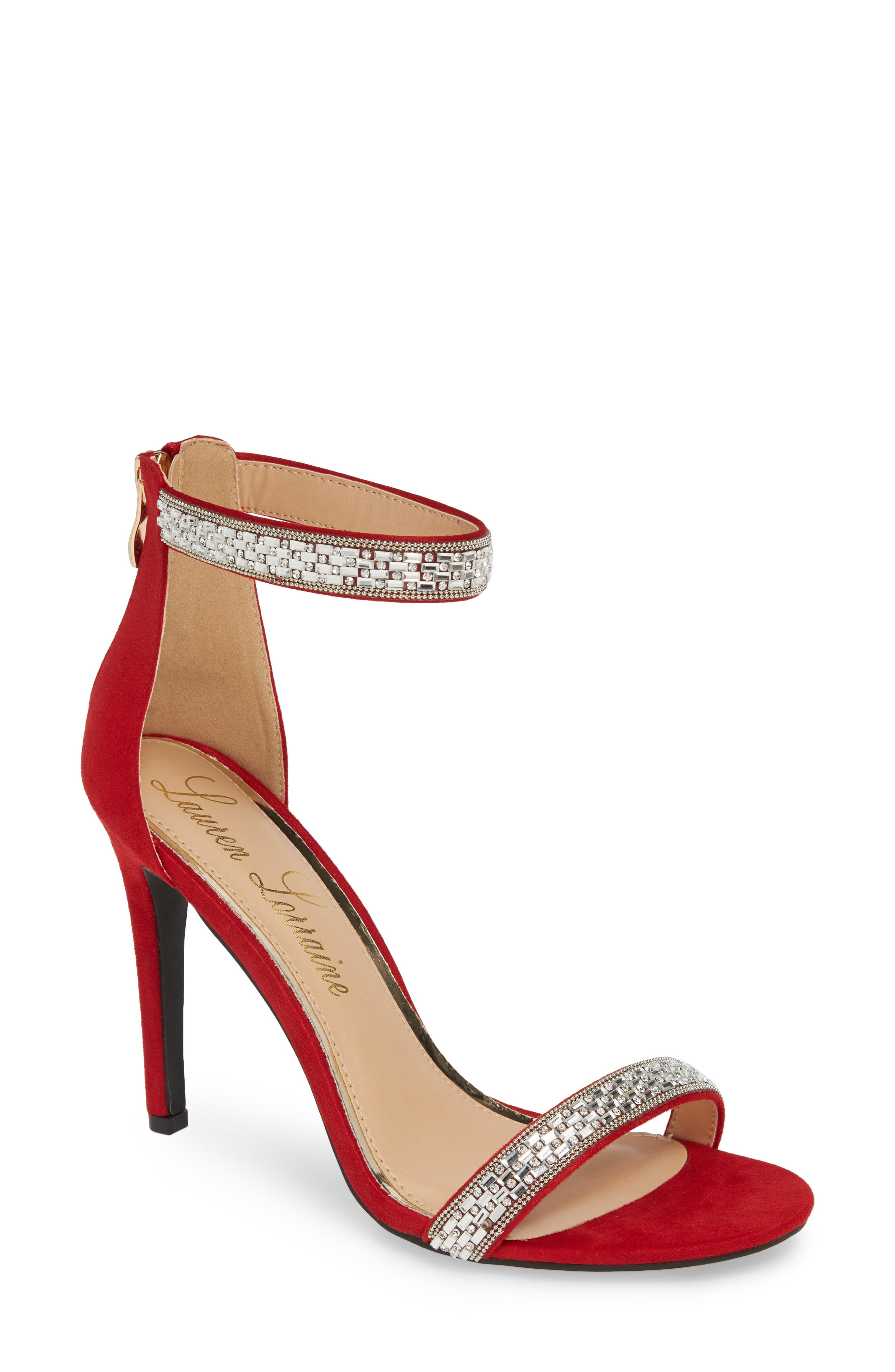 Lauren Lorraine Nesha Crystal Stiletto Sandal, Red